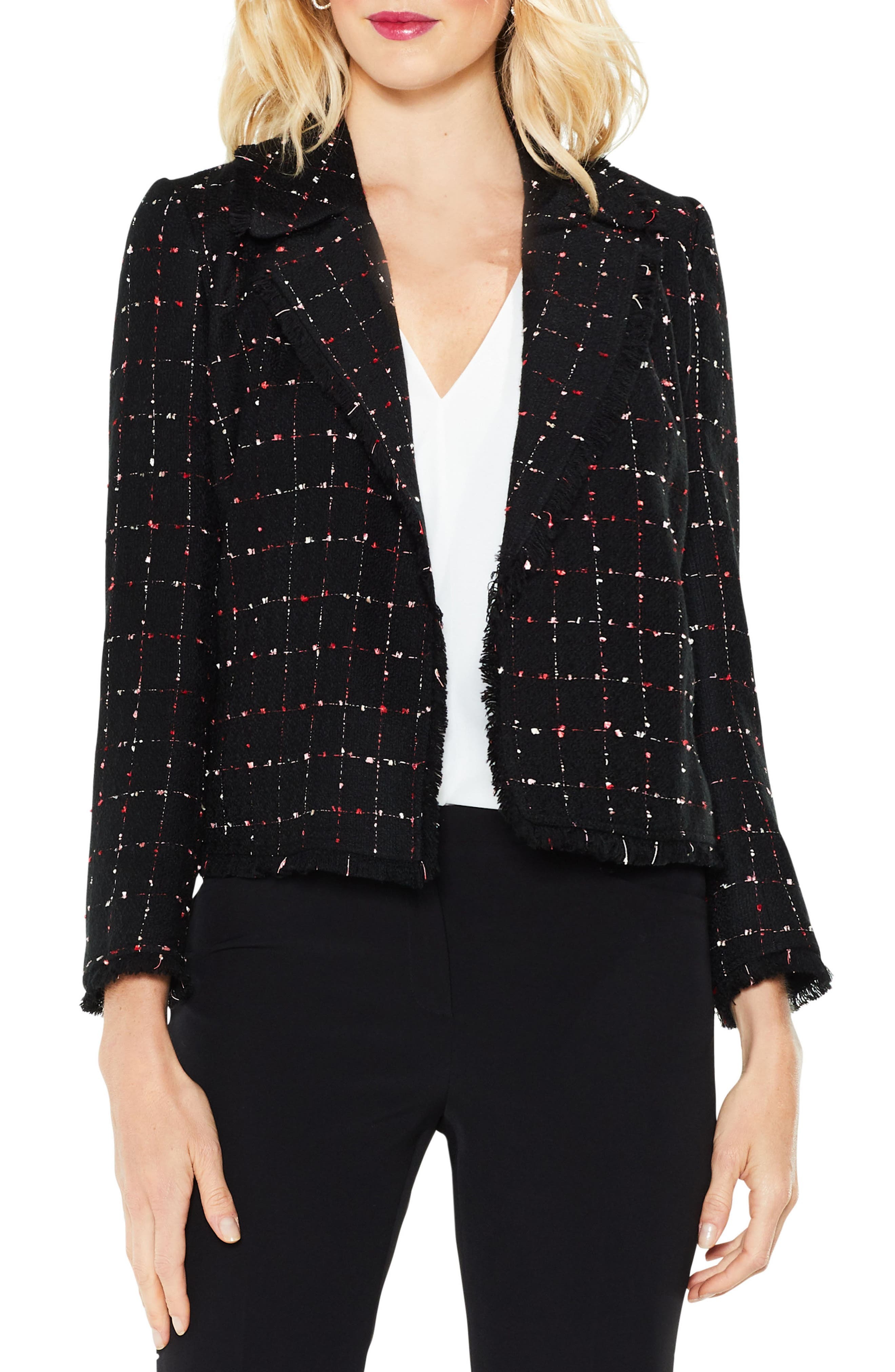 Spring Windowpane Tweed Open Front Jacket,                             Main thumbnail 1, color,                             Rich Black