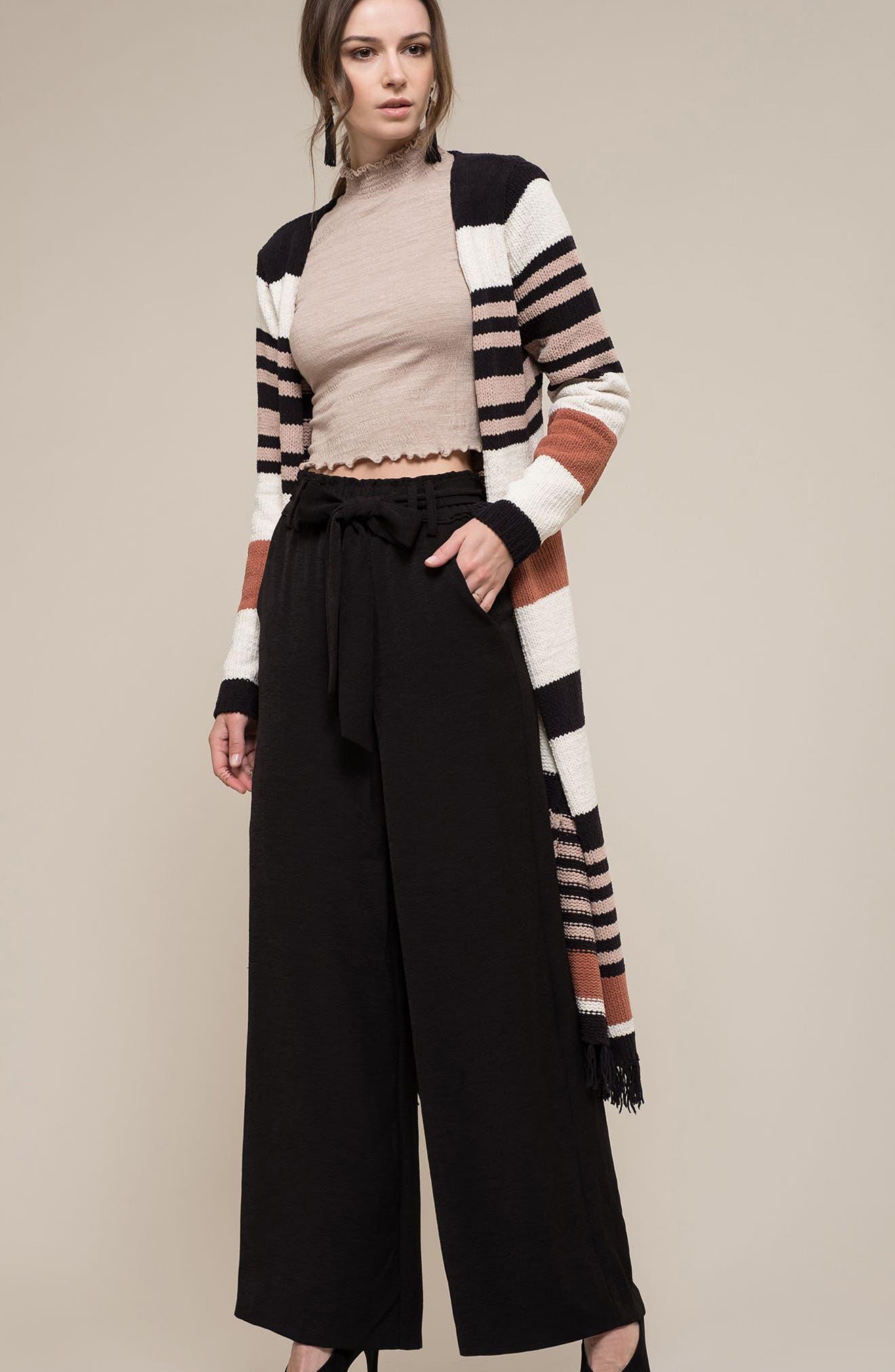 Belted Stripe Knit Duster,                             Alternate thumbnail 7, color,                             Black Stripe