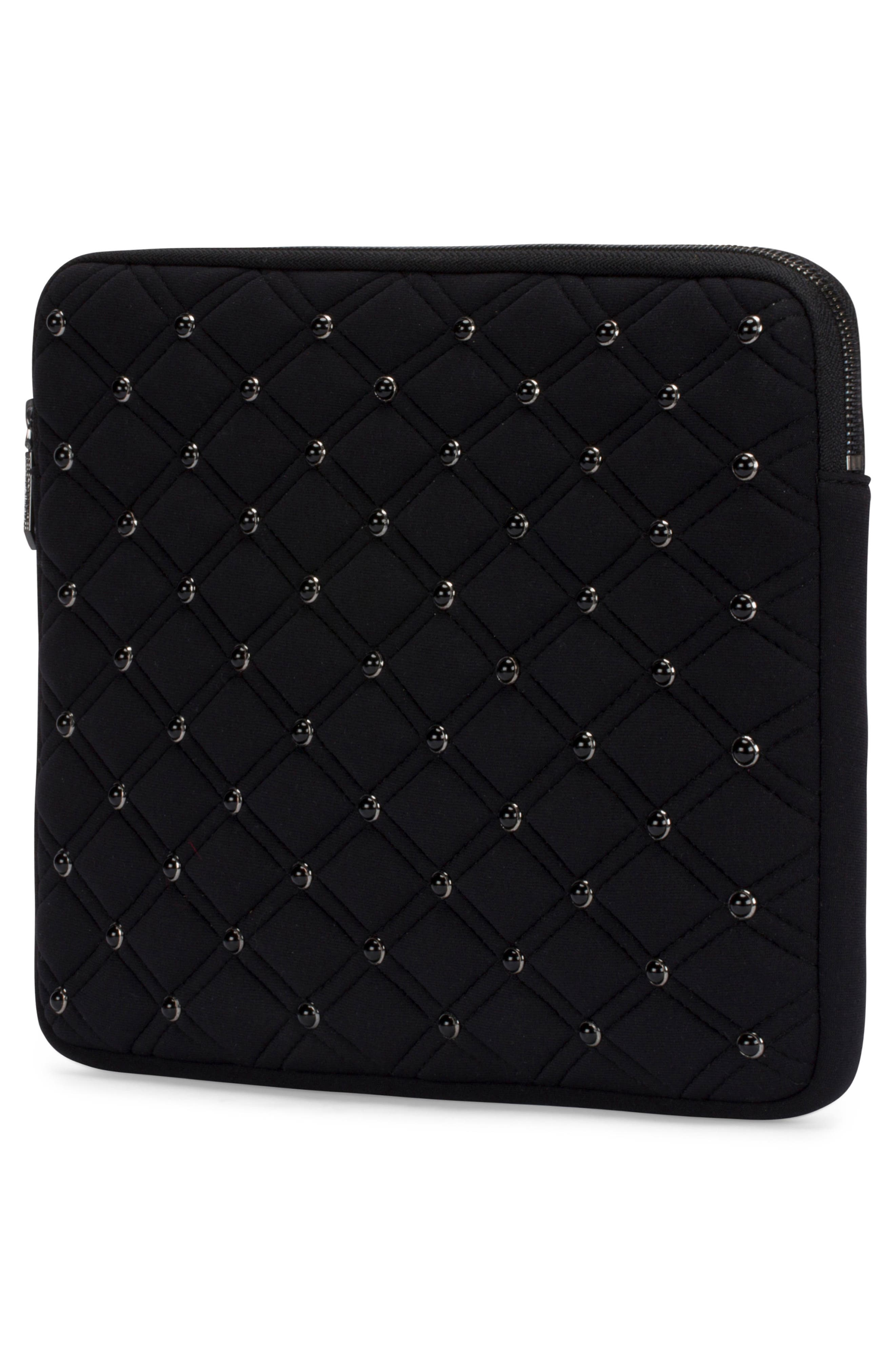 Quilted Stud Laptop Case,                             Alternate thumbnail 3, color,                             Black/ Black Pearl Studs