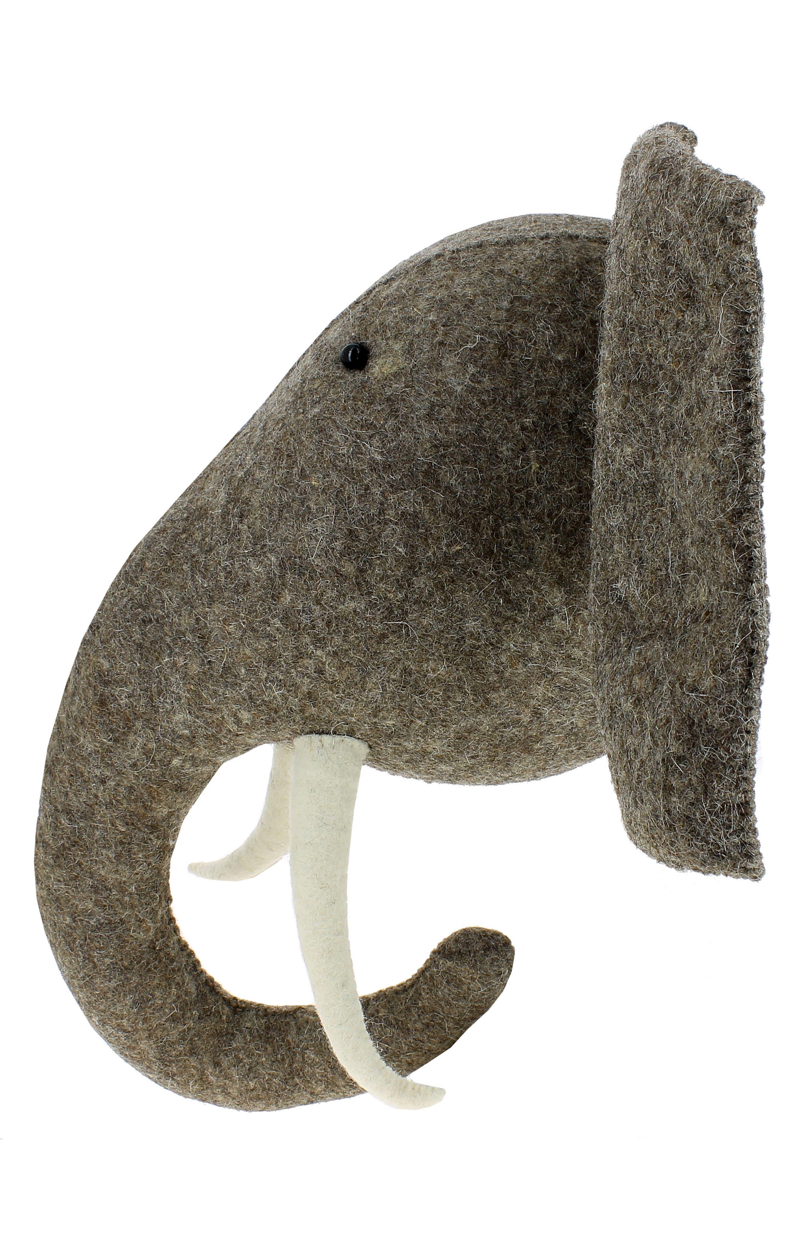 Elephant Head with Tusks Wall Art,                             Alternate thumbnail 4, color,                             Grey