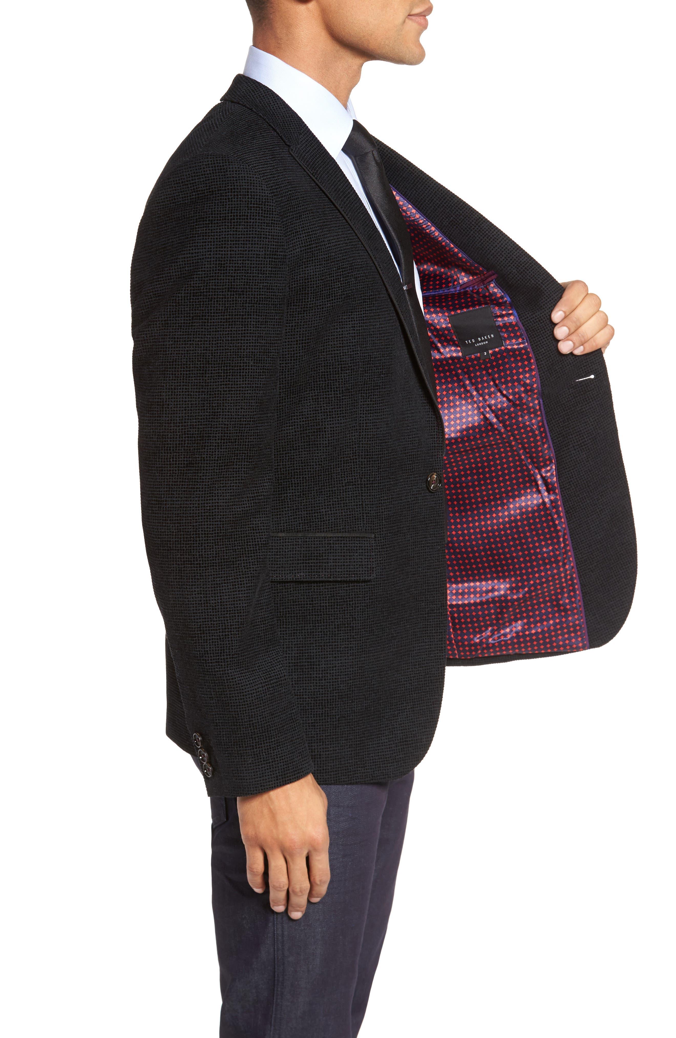 Exhaust Slim Fit Velvet Flocked Blazer,                             Alternate thumbnail 3, color,                             Black