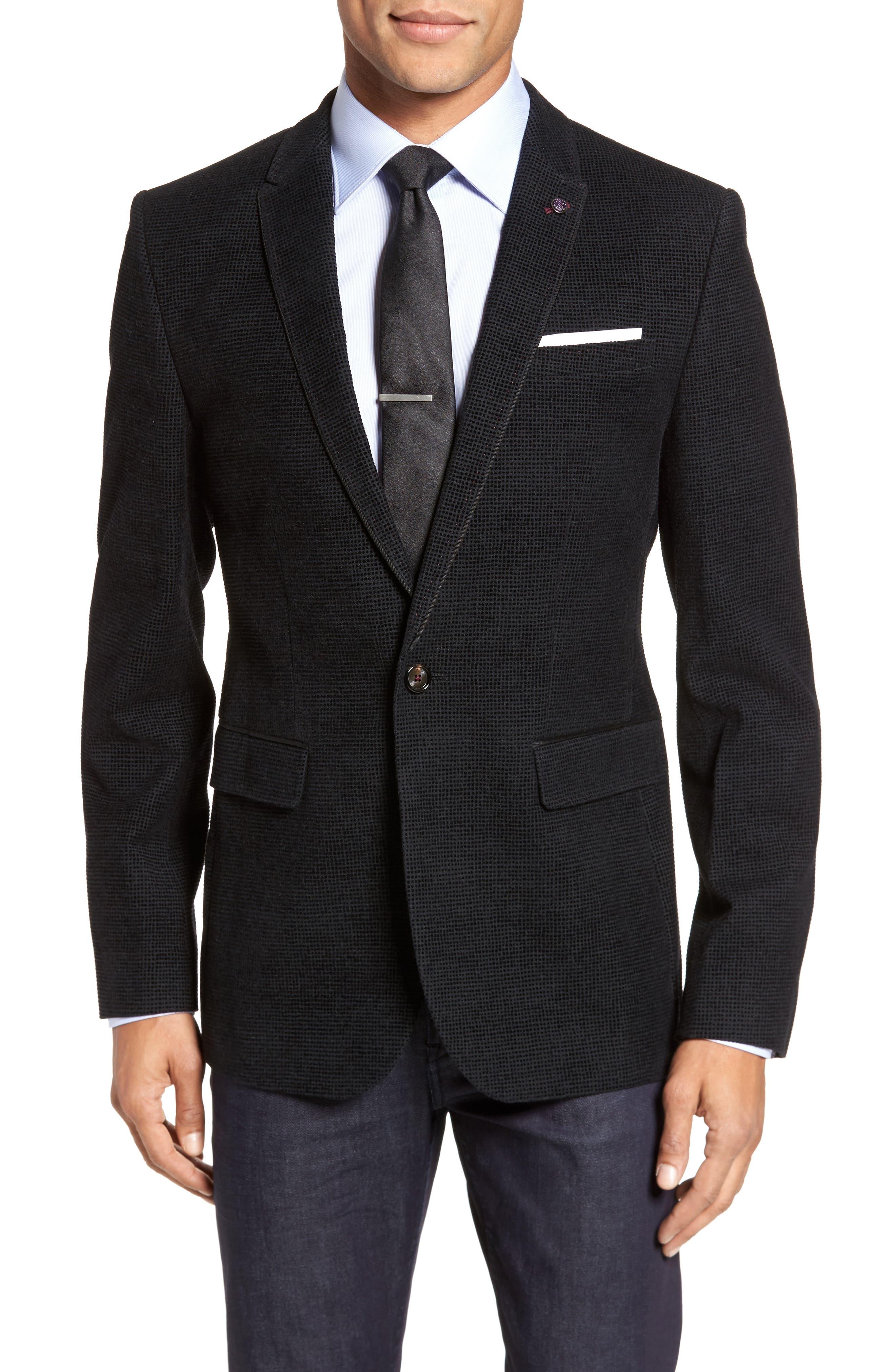 Exhaust Slim Fit Velvet Flocked Blazer,                         Main,                         color, Black