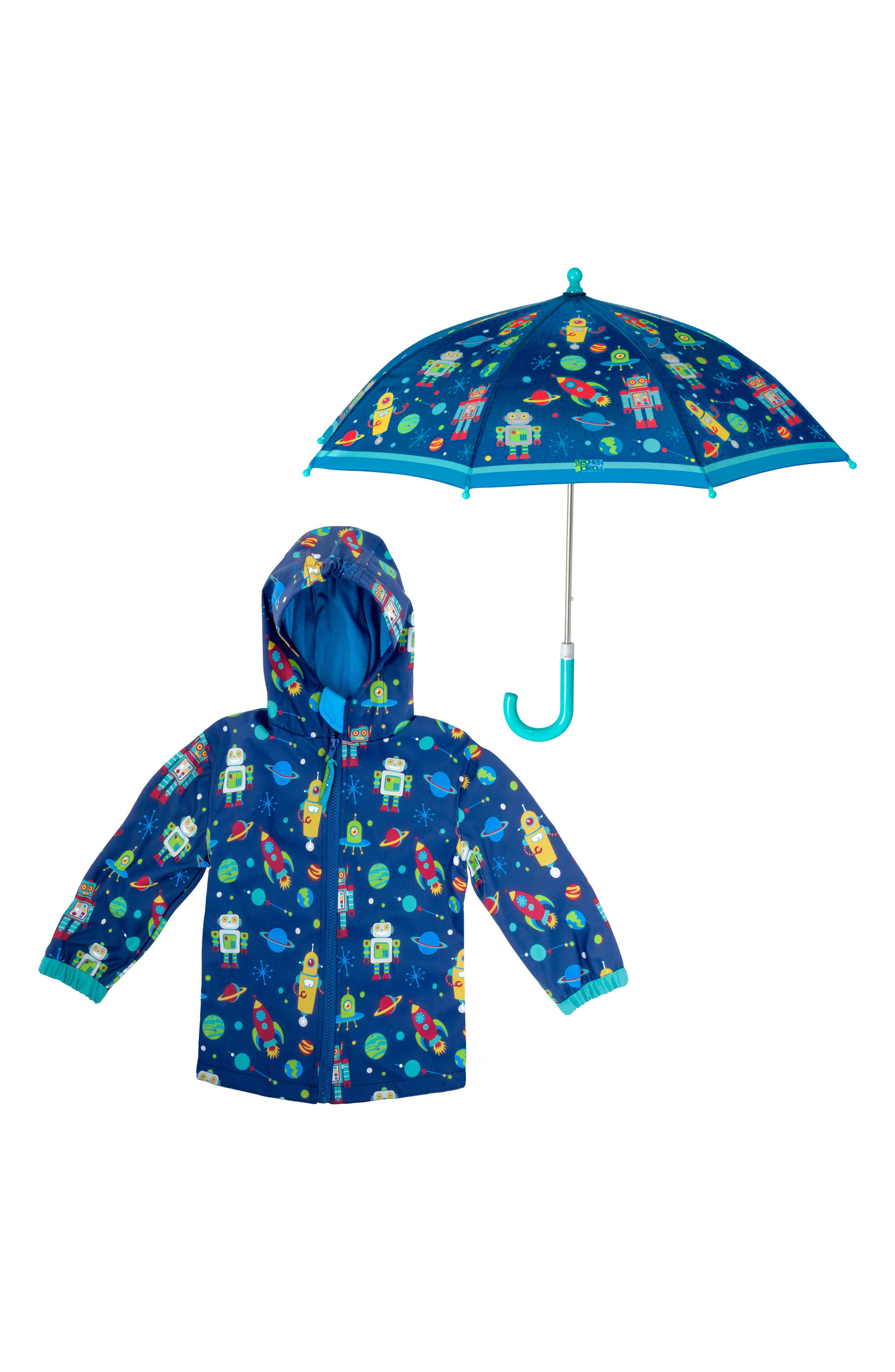 Robot Raincoat & Umbrella Set,                             Main thumbnail 1, color,                             Robot