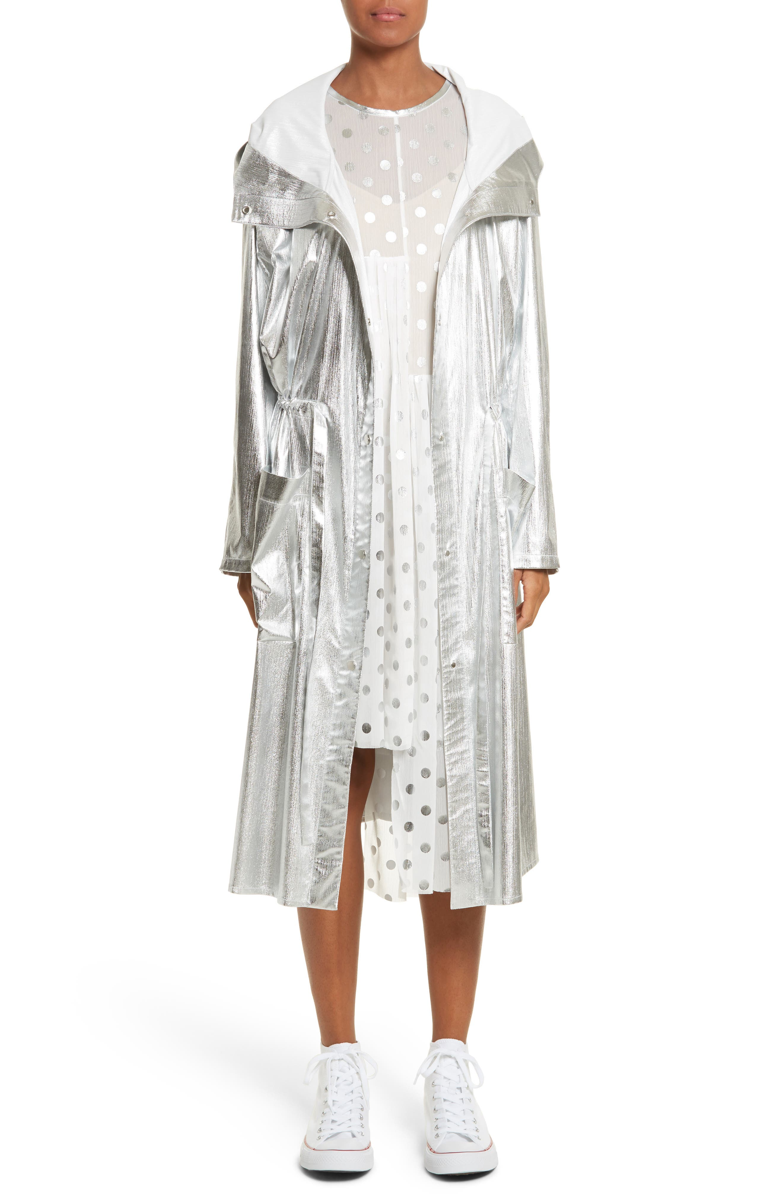 PASKAL Long Metallic Chiffon Parka
