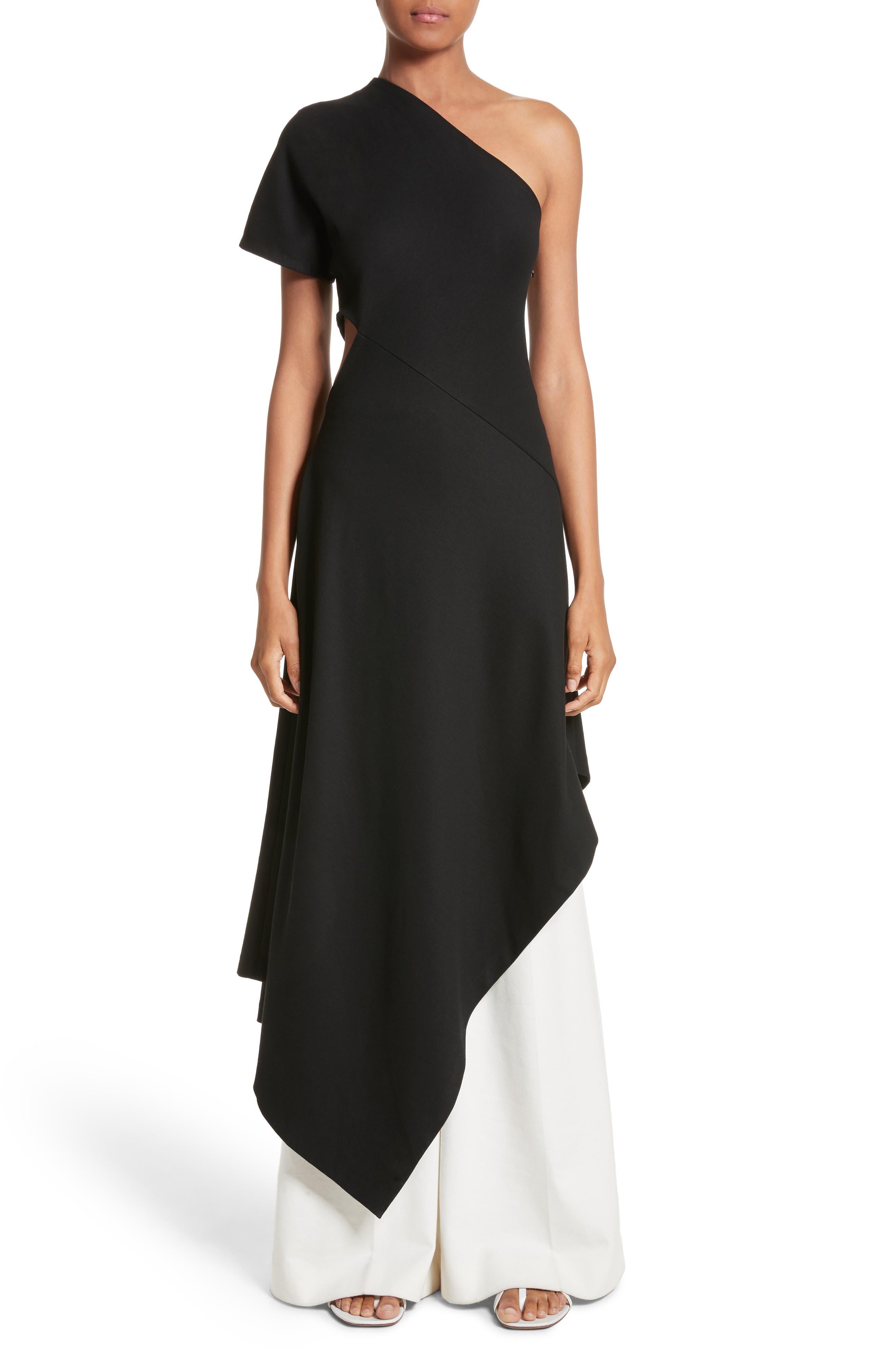 One-Shoulder Asymmetrical Jersey Dress,                             Main thumbnail 1, color,                             Black