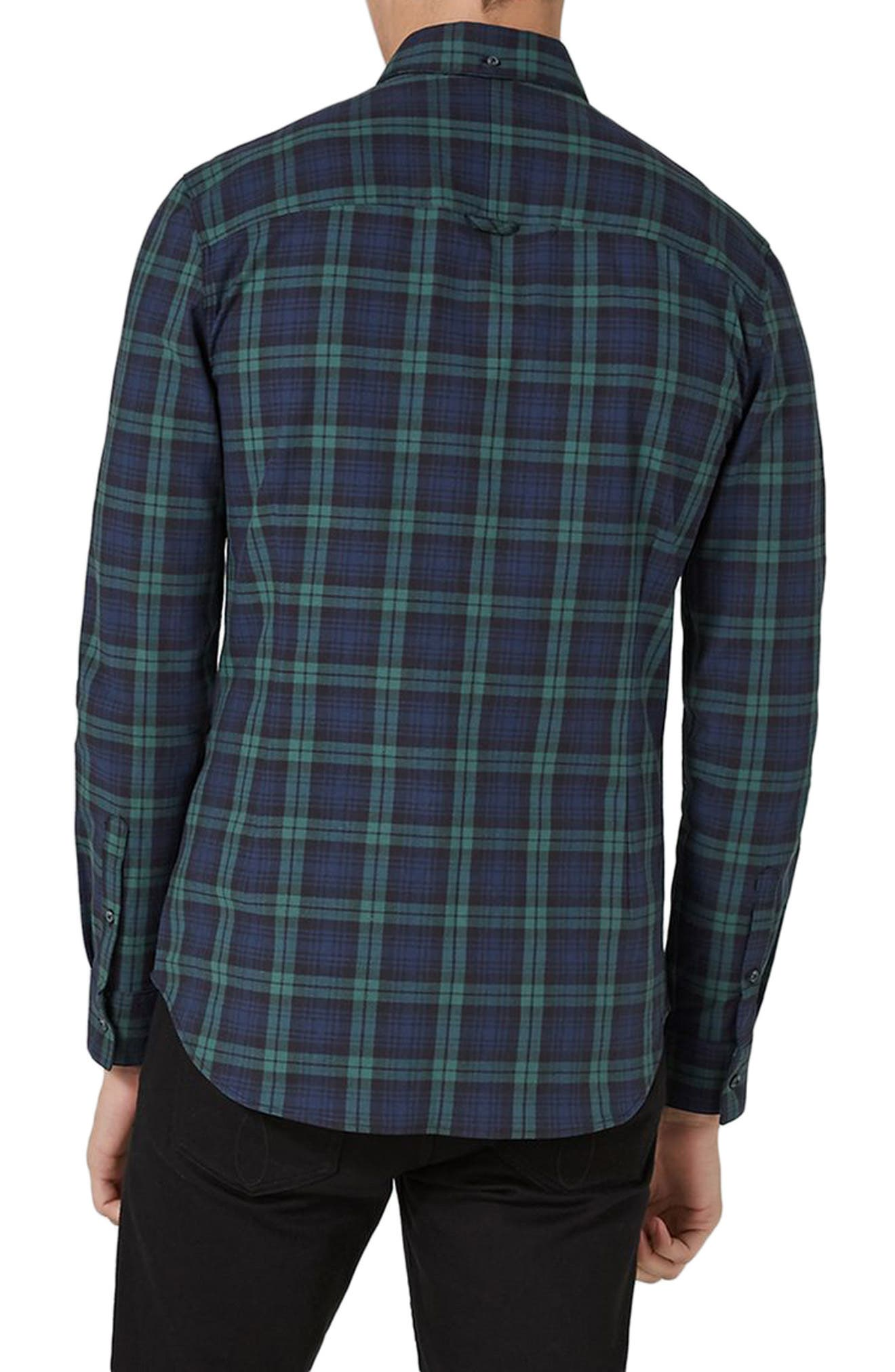 Muscle Fit Black Watch Plaid Shirt,                             Alternate thumbnail 2, color,                             Green Multi