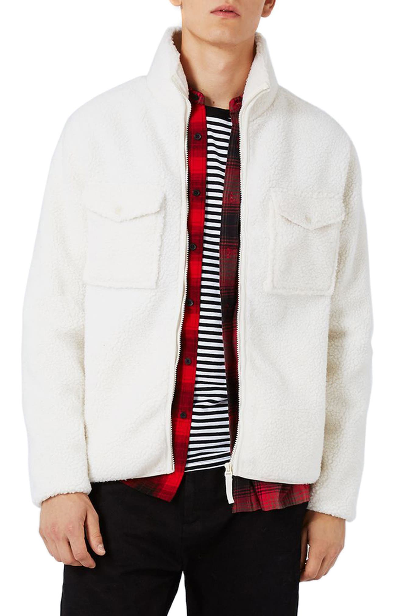 Topman Borg Textured Fleece Jacket