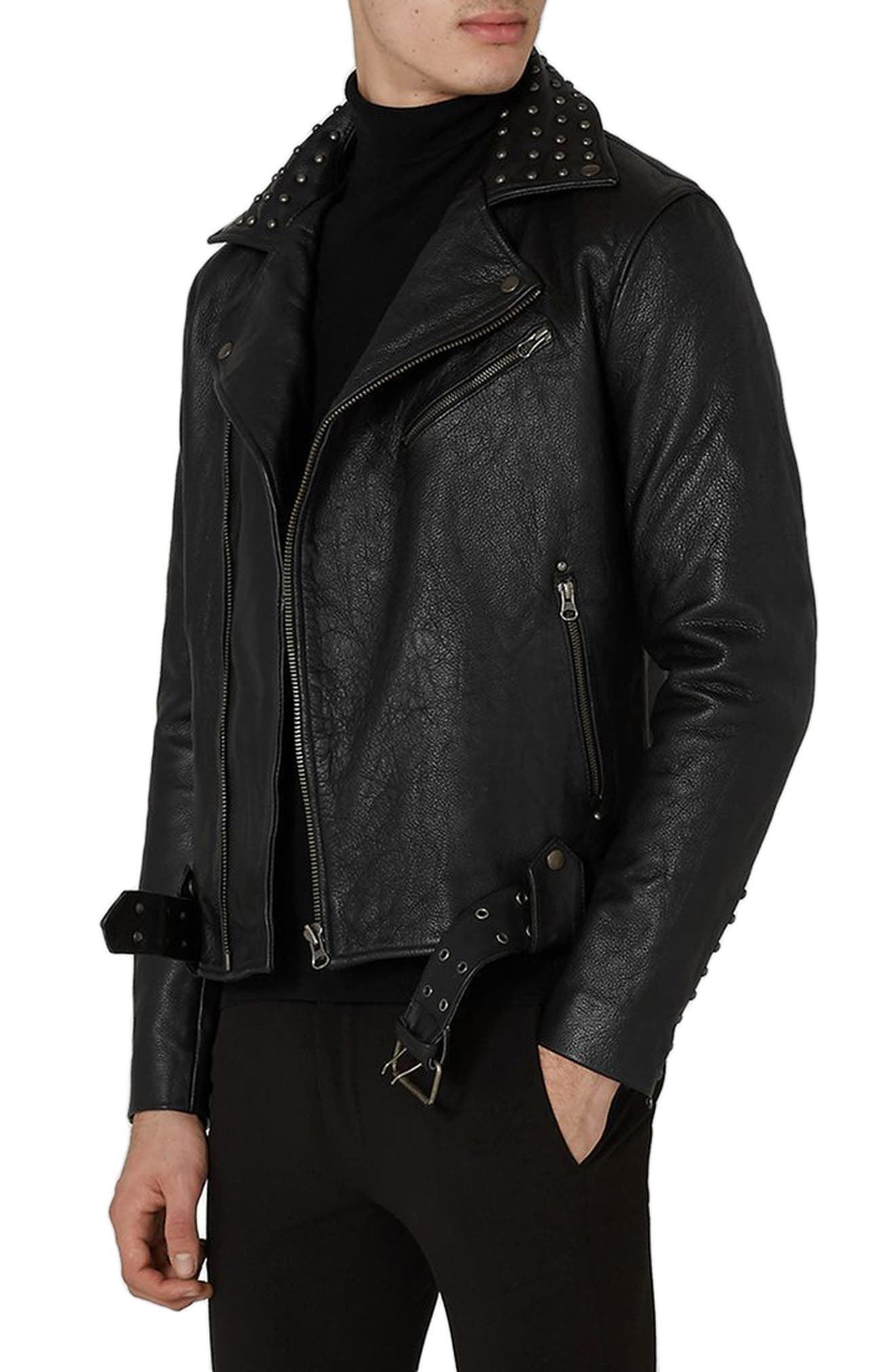 Topman Studded Leather Biker Jacket