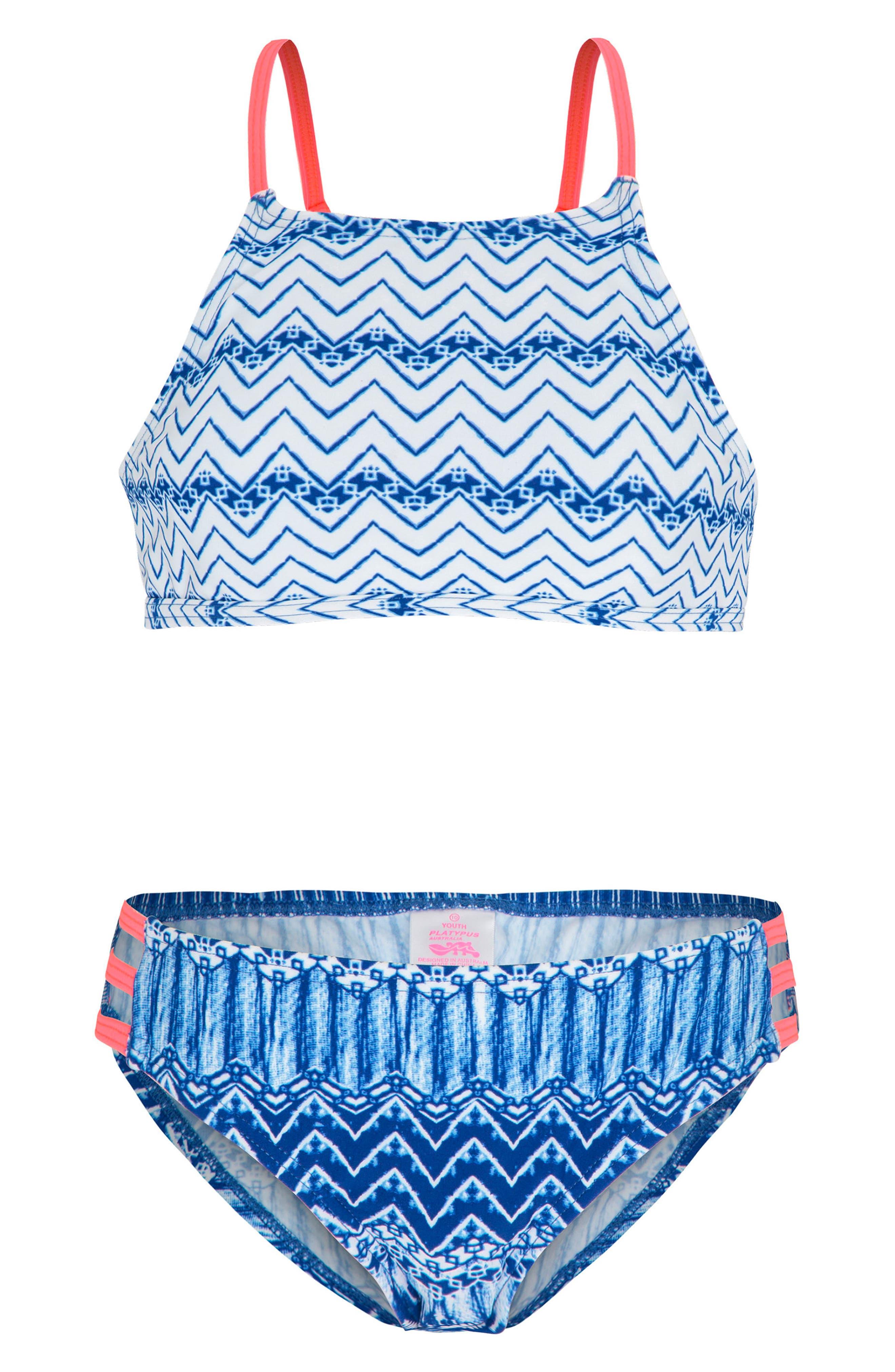 Print Two-Piece Swimsuit,                             Main thumbnail 1, color,                             Indigo Waves