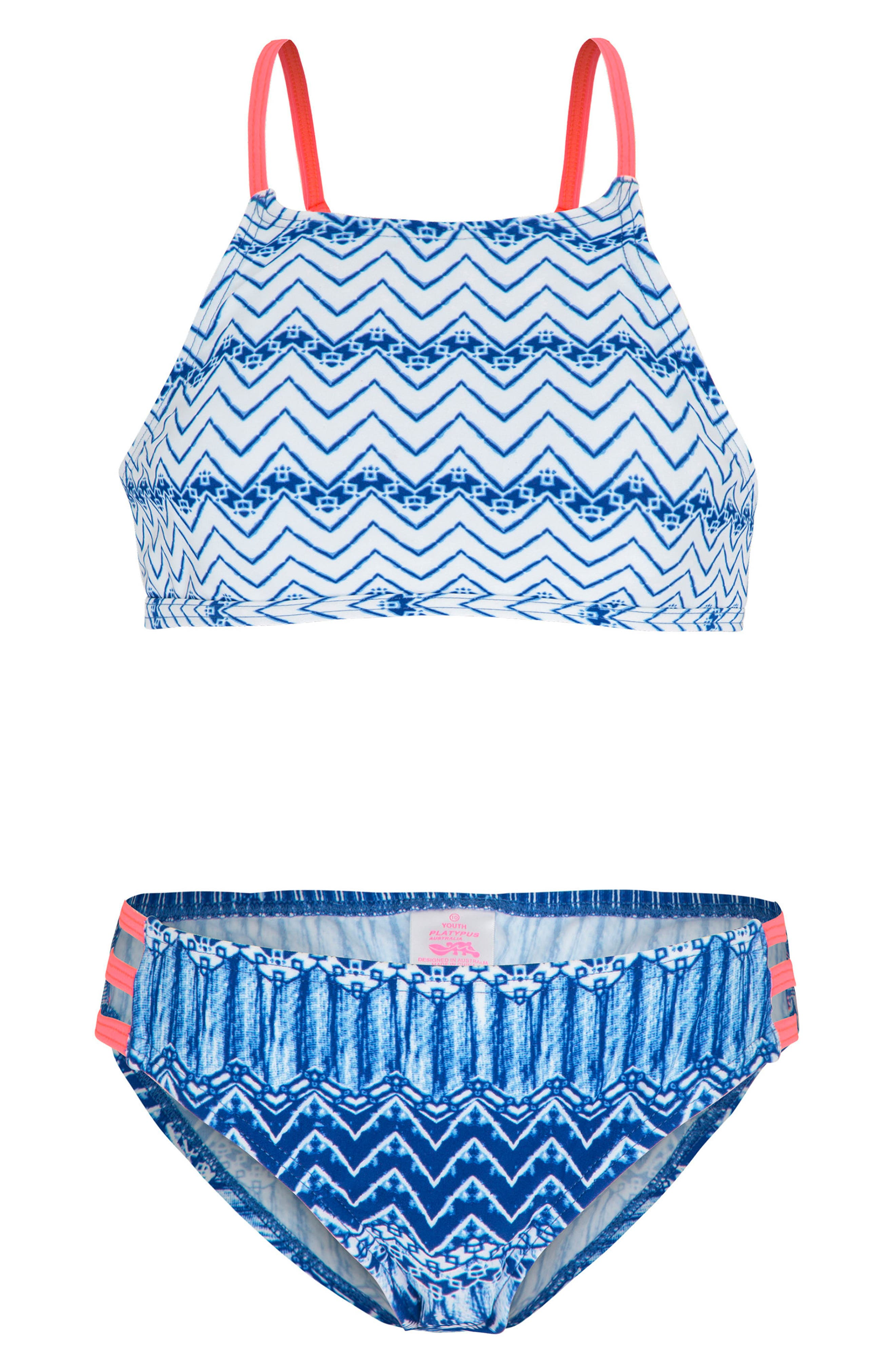Print Two-Piece Swimsuit,                         Main,                         color, Indigo Waves