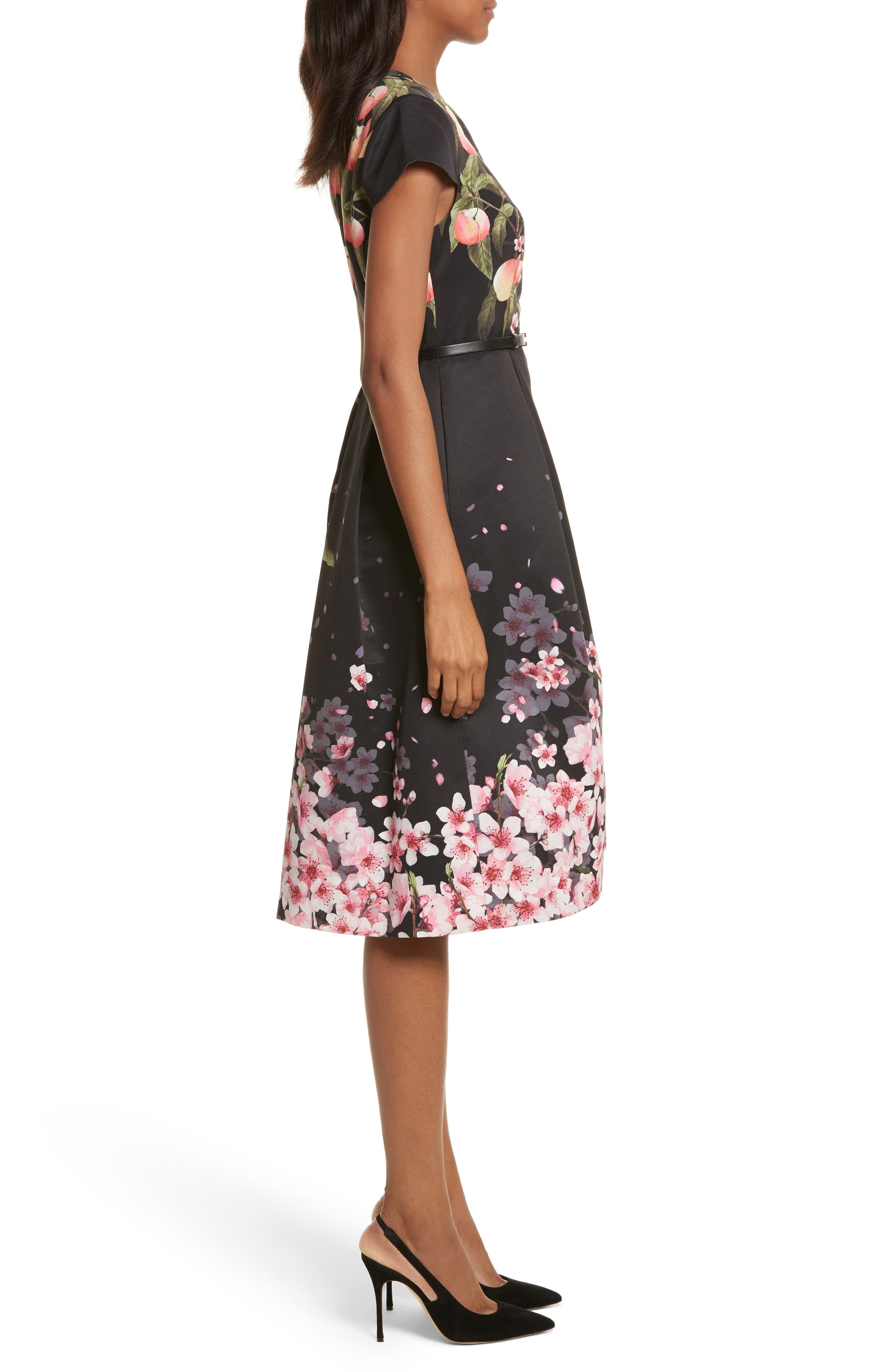 Peach Blossom Faux Wrap Midi Dress,                             Alternate thumbnail 3, color,                             Black