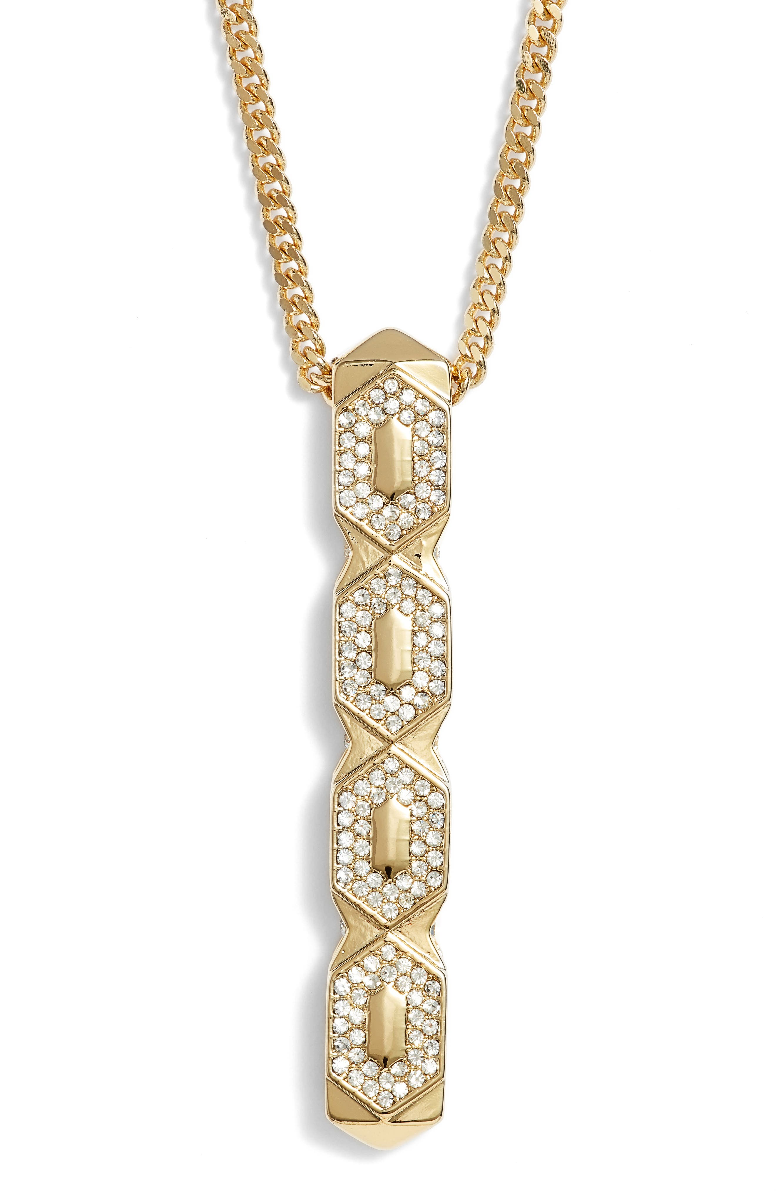 Crystal Pendant Necklace,                             Alternate thumbnail 2, color,                             Gold