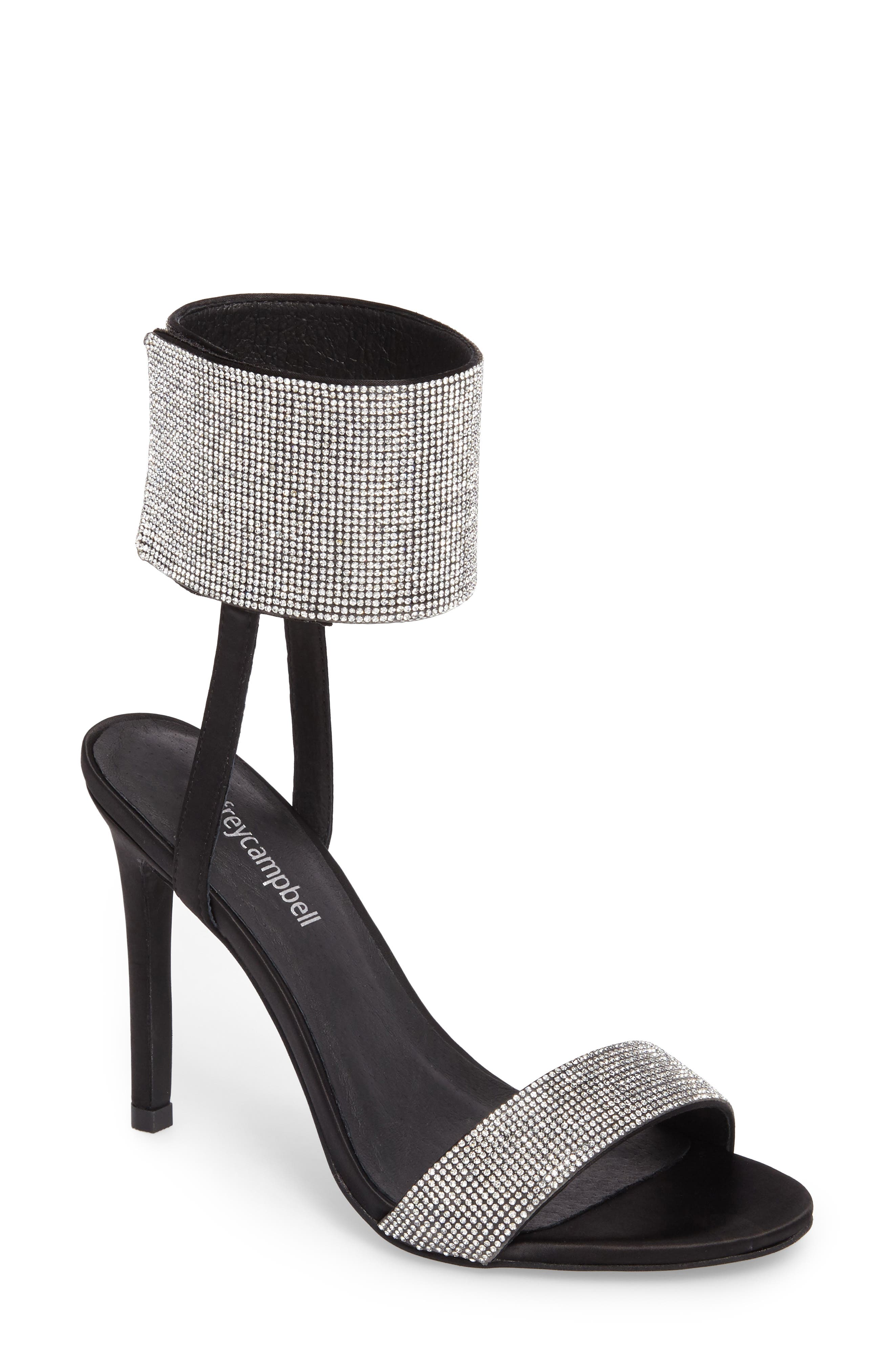 Frost Ankle Cuff Sandal,                             Main thumbnail 1, color,                             Black Silver