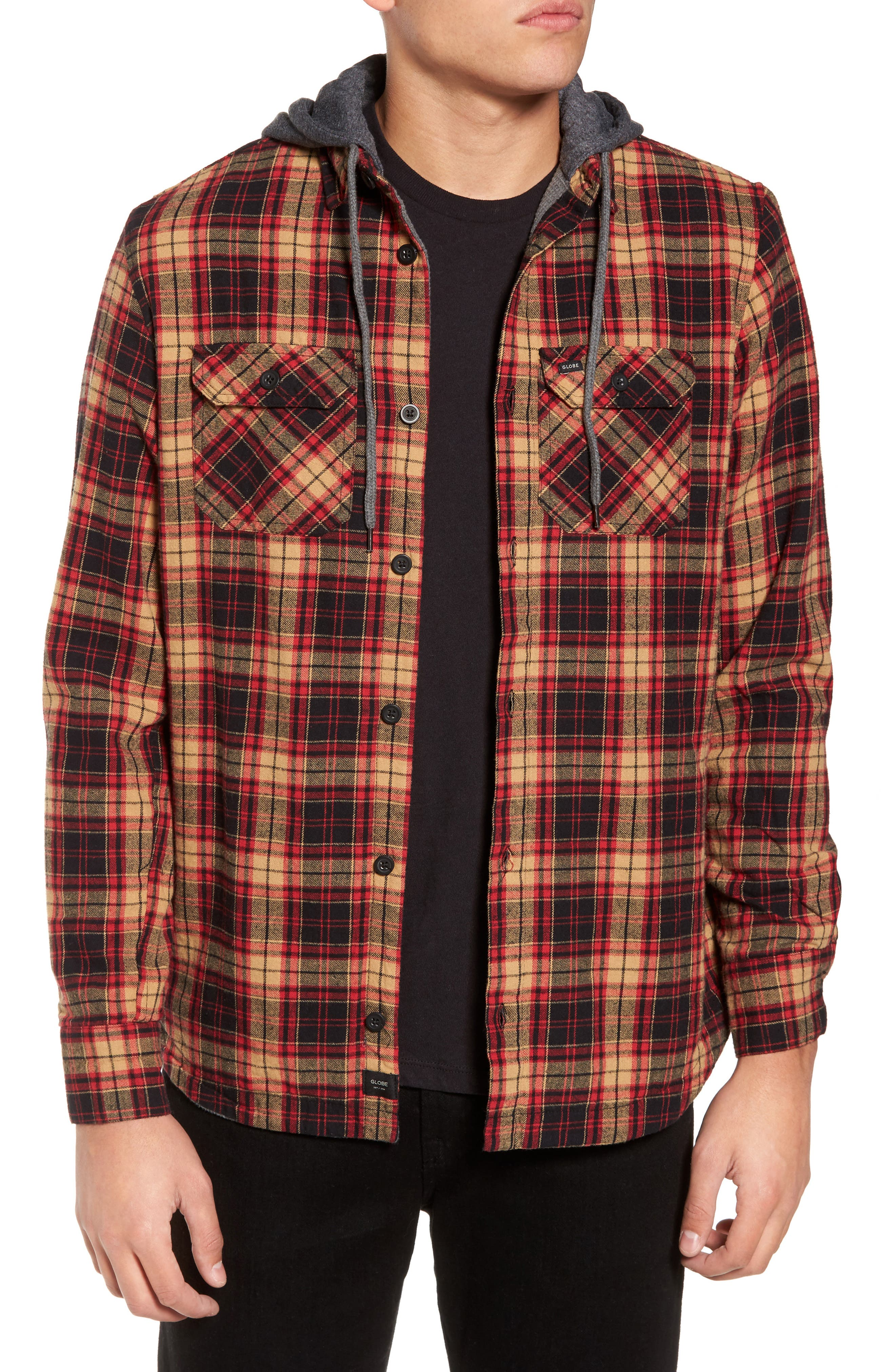 'Alford' Trim Fit Long Sleeve Plaid Hooded Shirt,                         Main,                         color, Tobacco