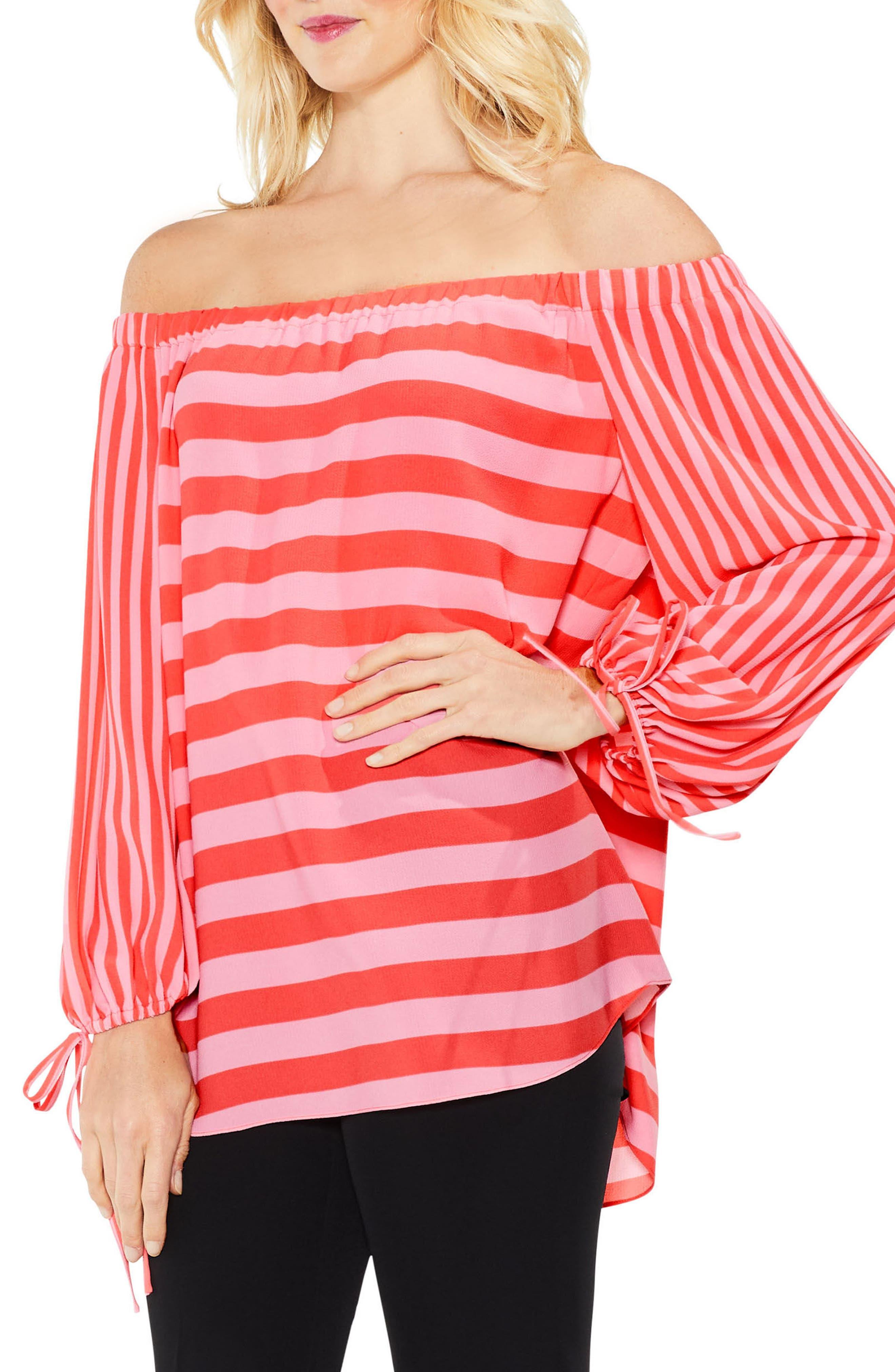 Off the Shoulder Even Stripe Bubble Sleeve Top,                         Main,                         color, Melon