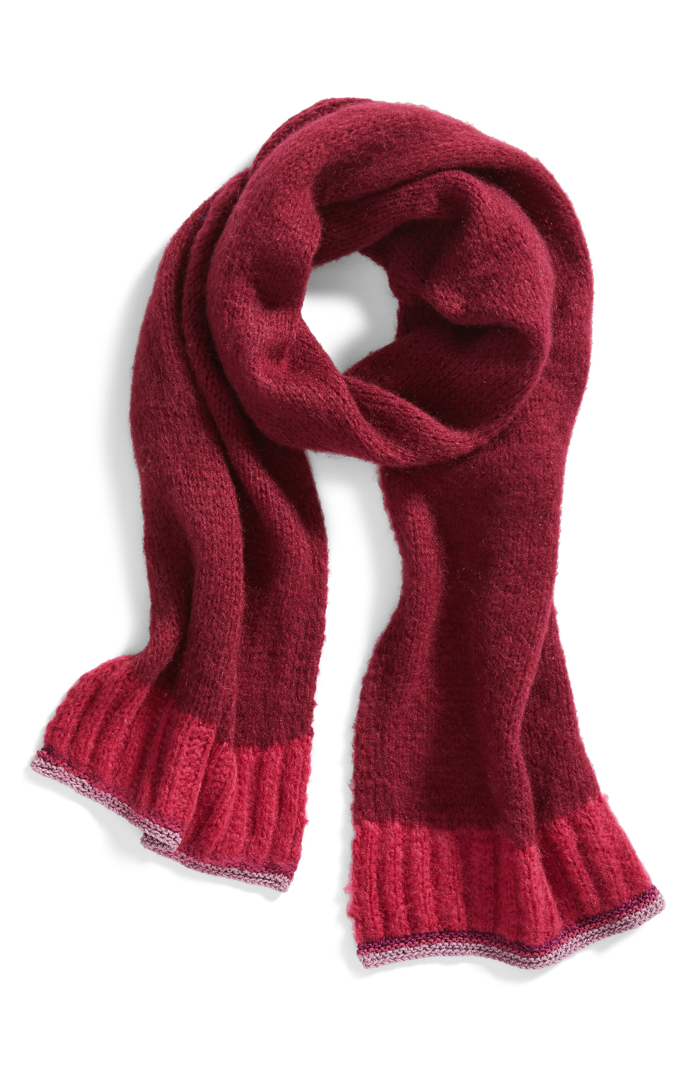 Metallic Tipped Scarf,                             Alternate thumbnail 3, color,                             Burgundy Combo