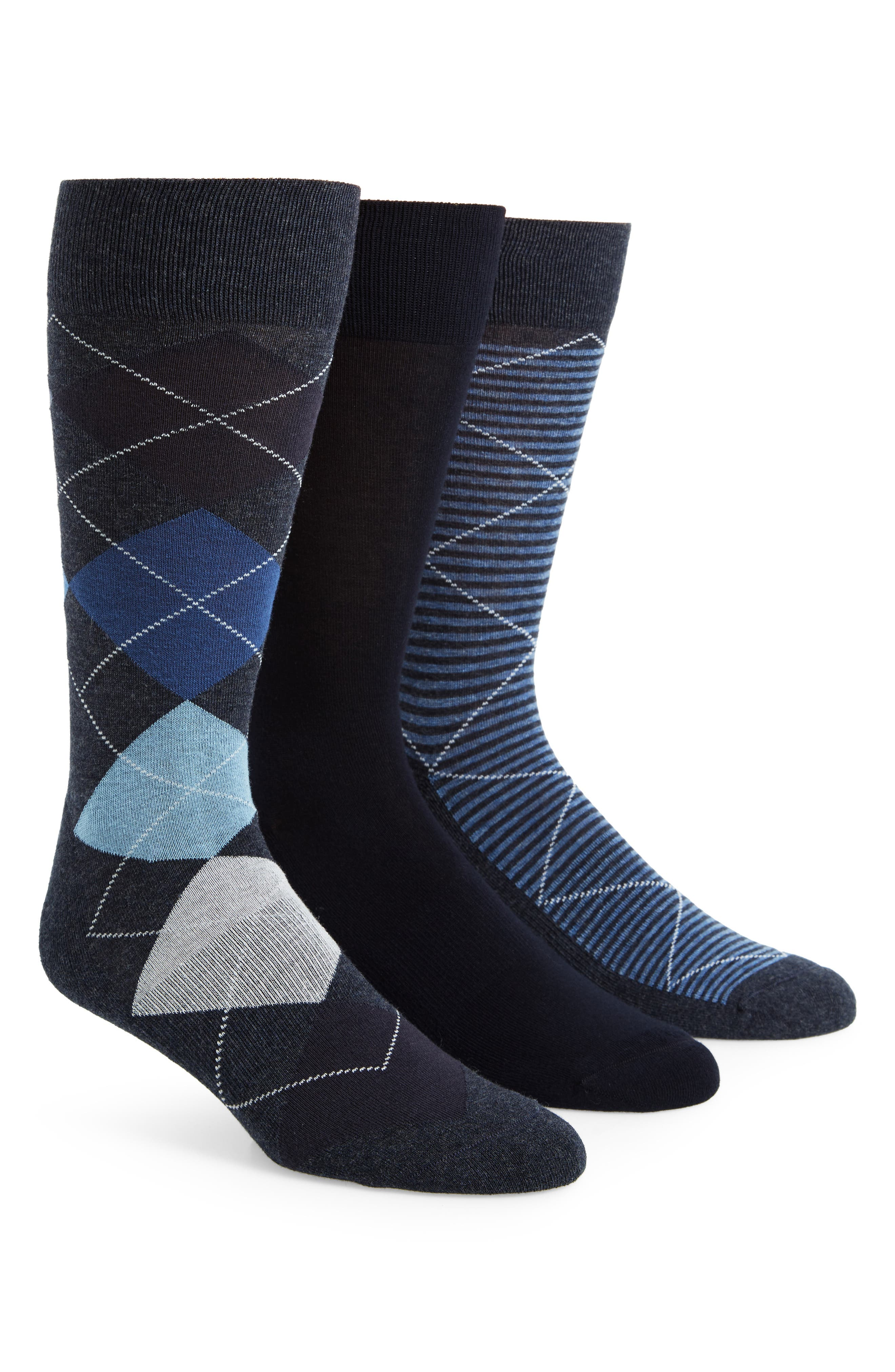 3-Pack Cotton Blend Socks,                             Main thumbnail 1, color,                             Navy