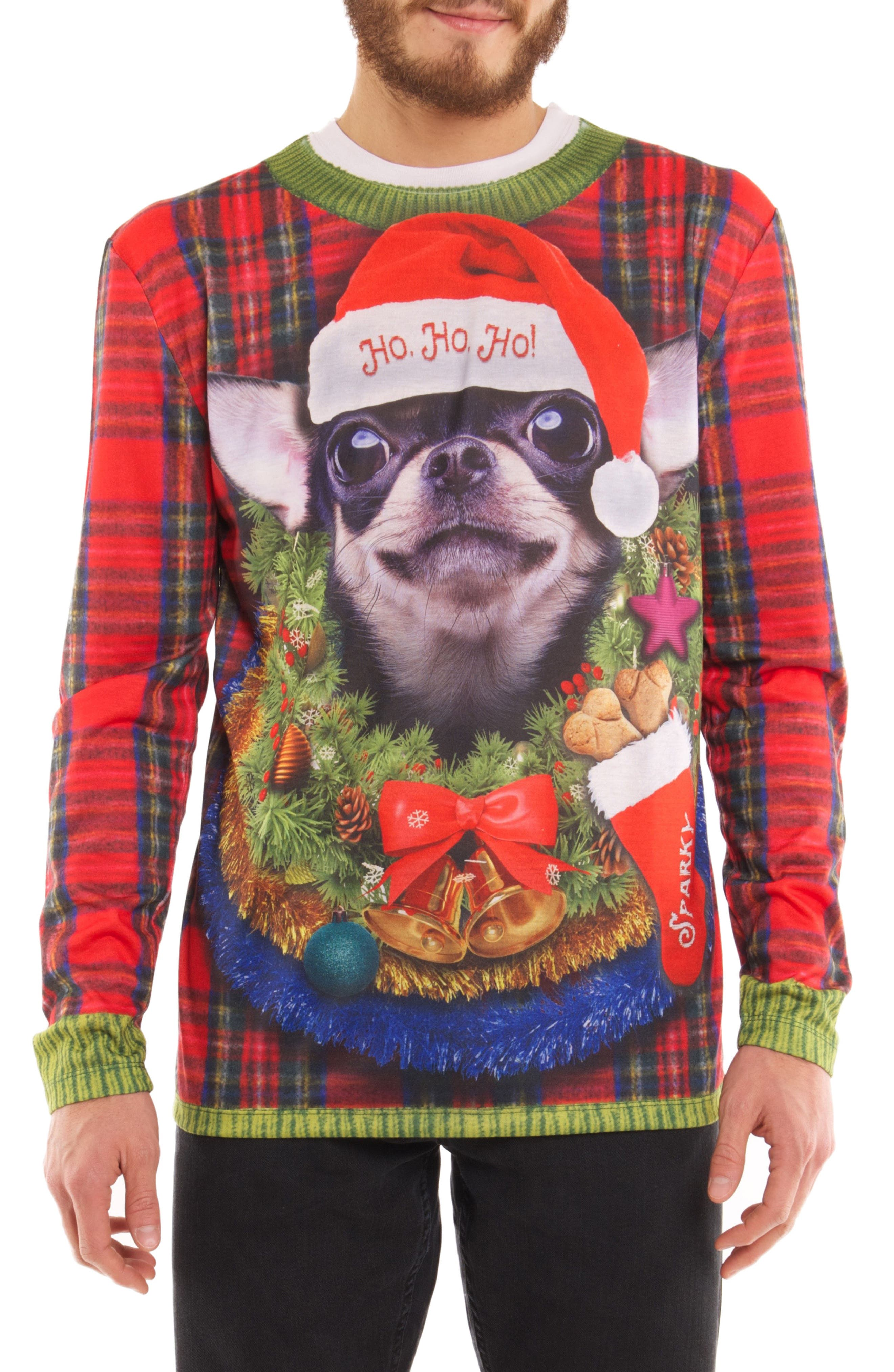 Faux Real Ho, Ho, Ho Dog Sweater T-Shirt