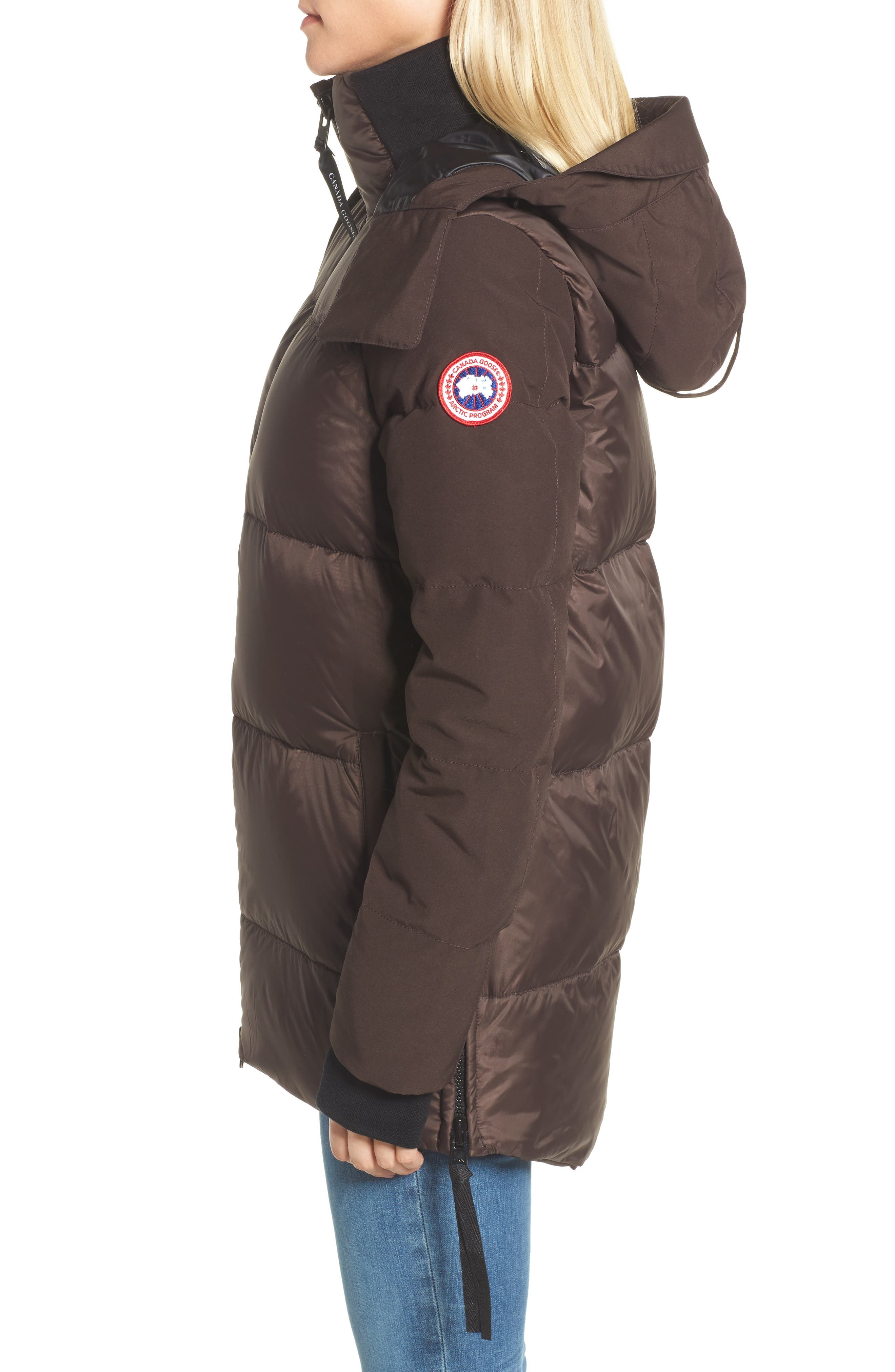Whitehorse Hooded Water Resistant 675-Fill-Power Down Parka,                             Alternate thumbnail 3, color,                             Charred Wood