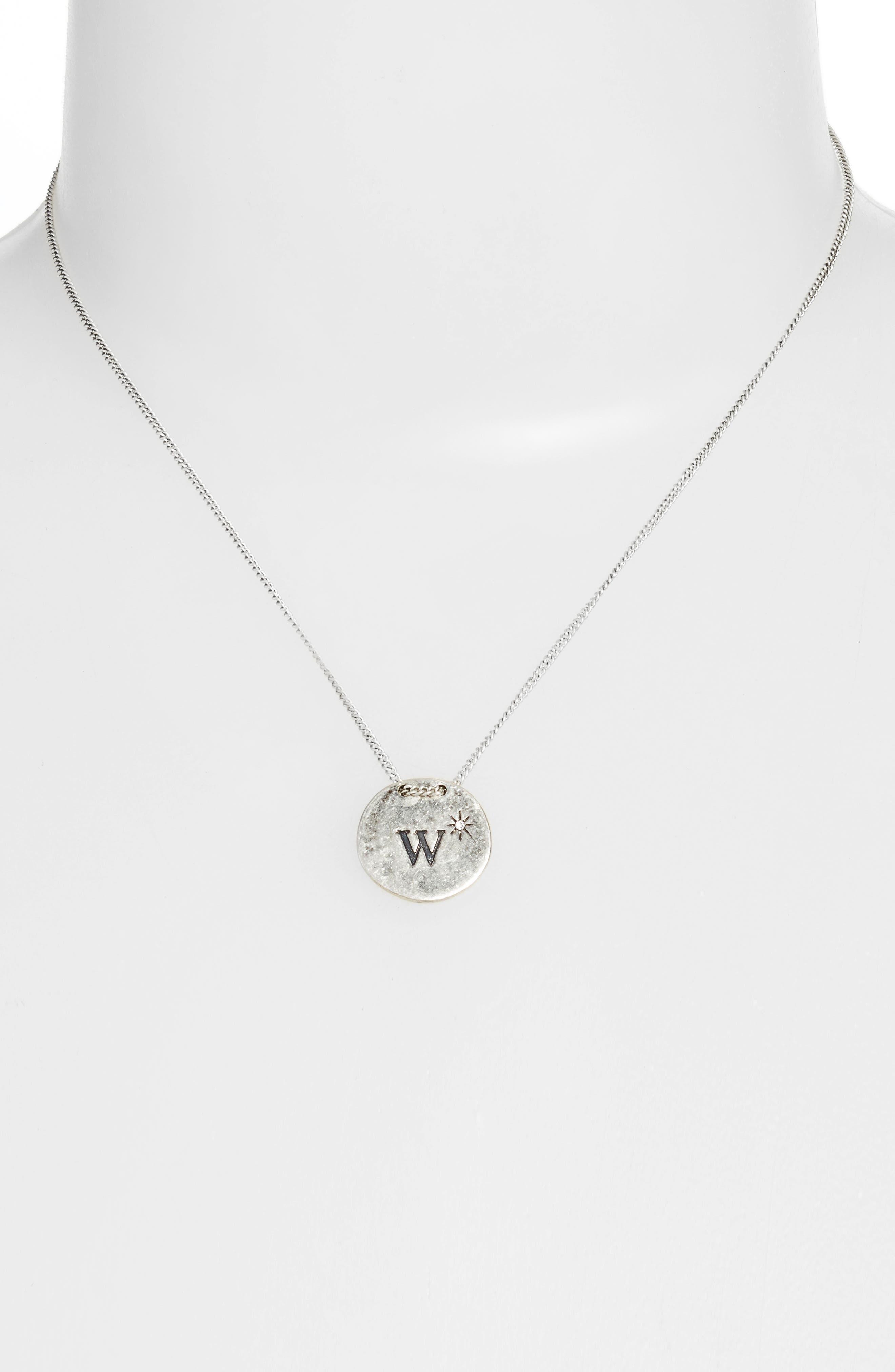 Initial Collar Necklace,                             Alternate thumbnail 2, color,                             W- Clear- Rhodium