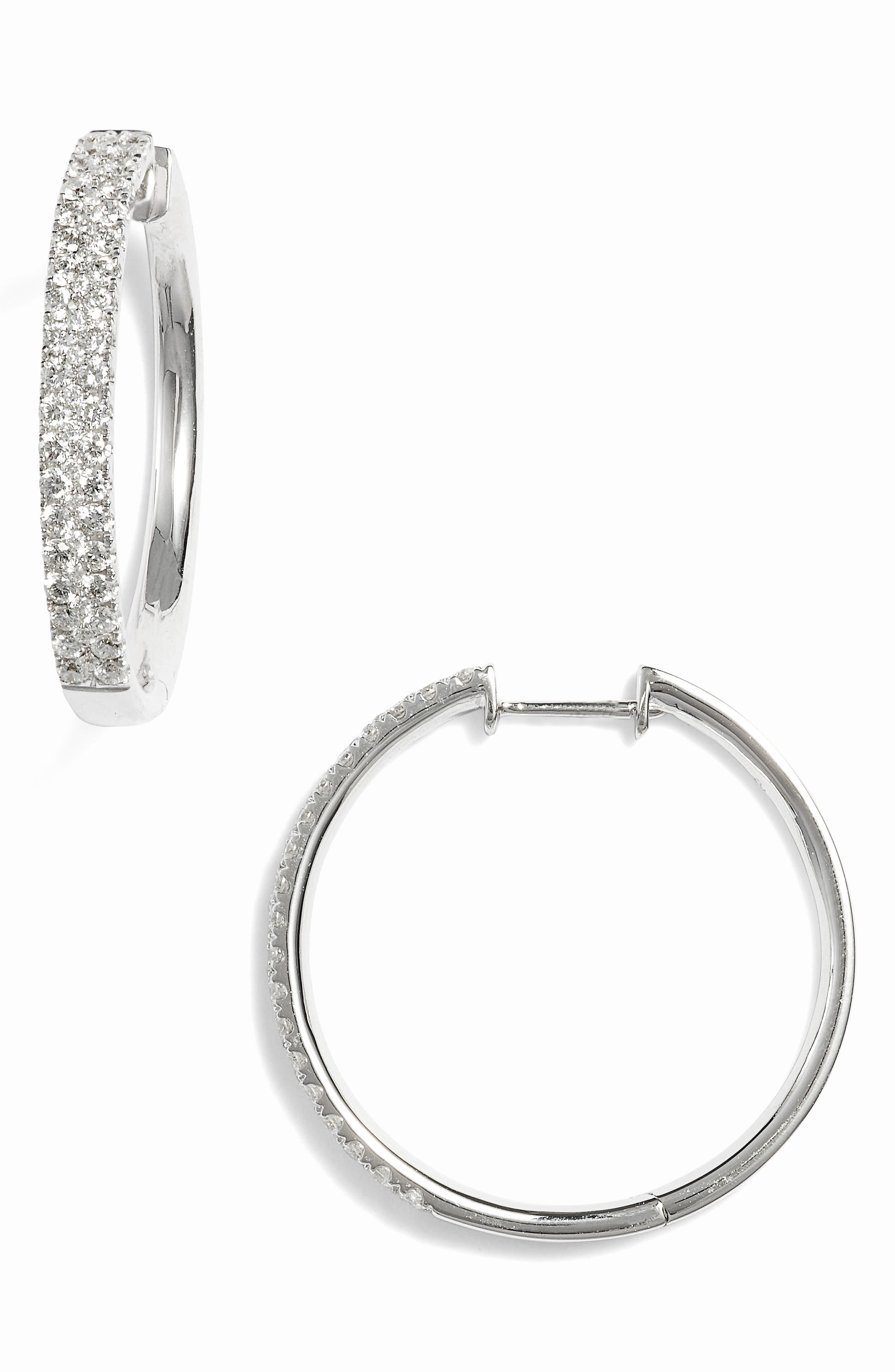 Main Image - Bony Levy Kiera Medium Diamond Hoop Earrings (Nordstrom Exclusive)