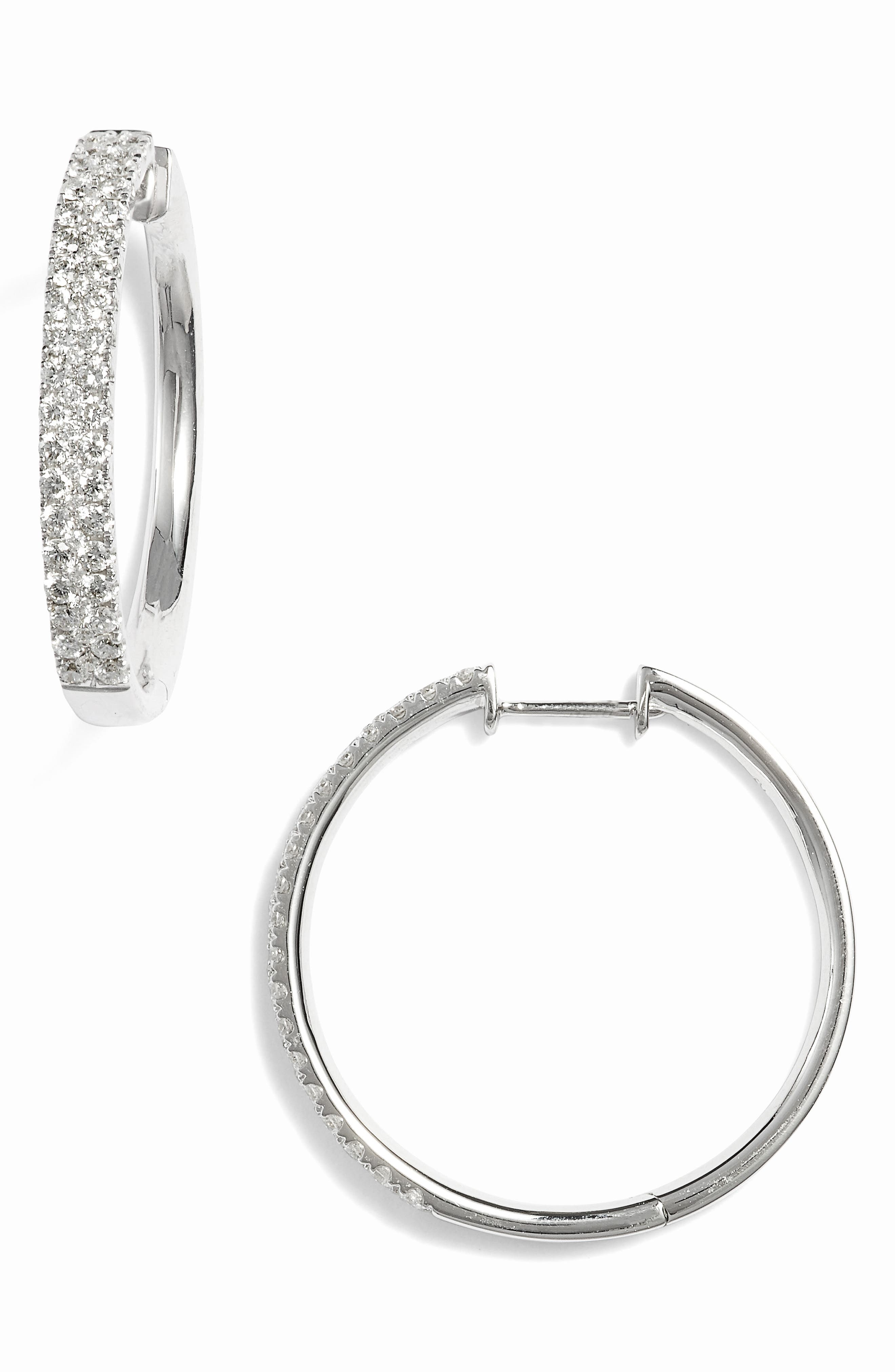 Bony Levy Kiera Medium Diamond Hoop Earrings (Nordstrom Exclusive)