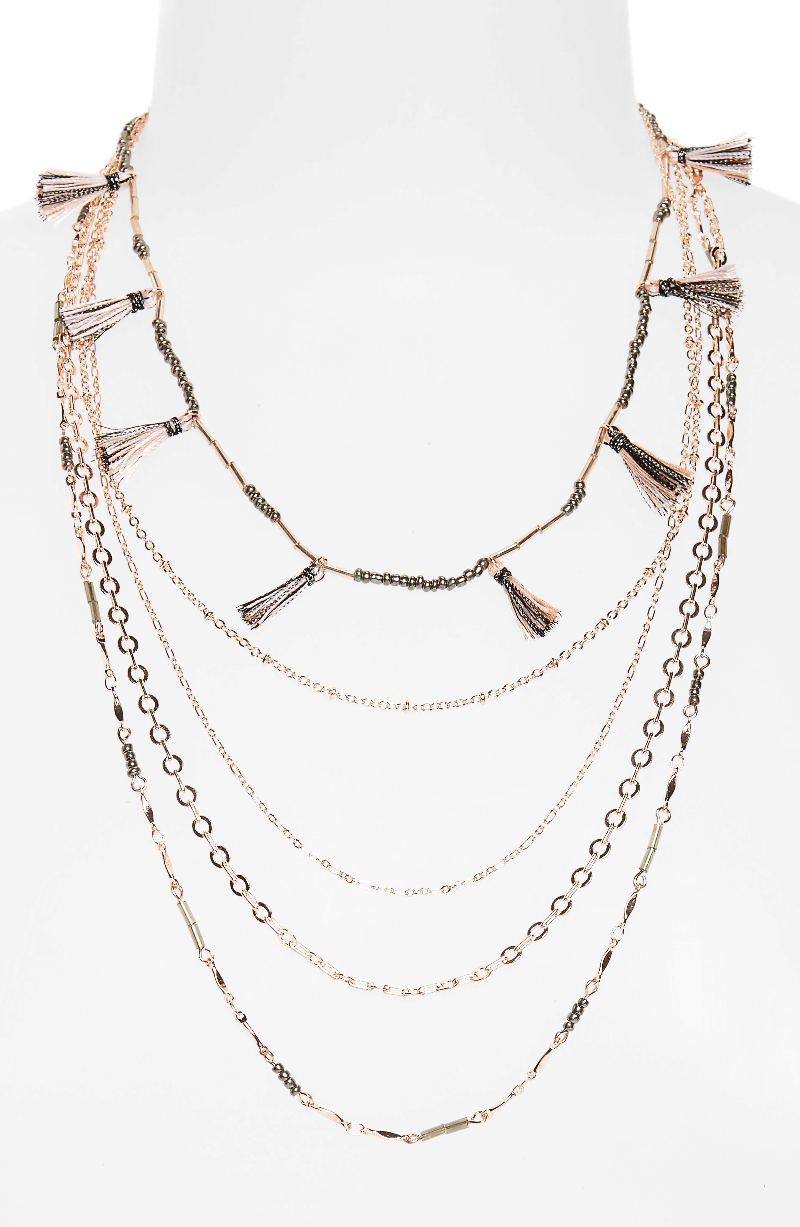 Rebecca Minkoff Long Layered Necklace with Metallic Tassels