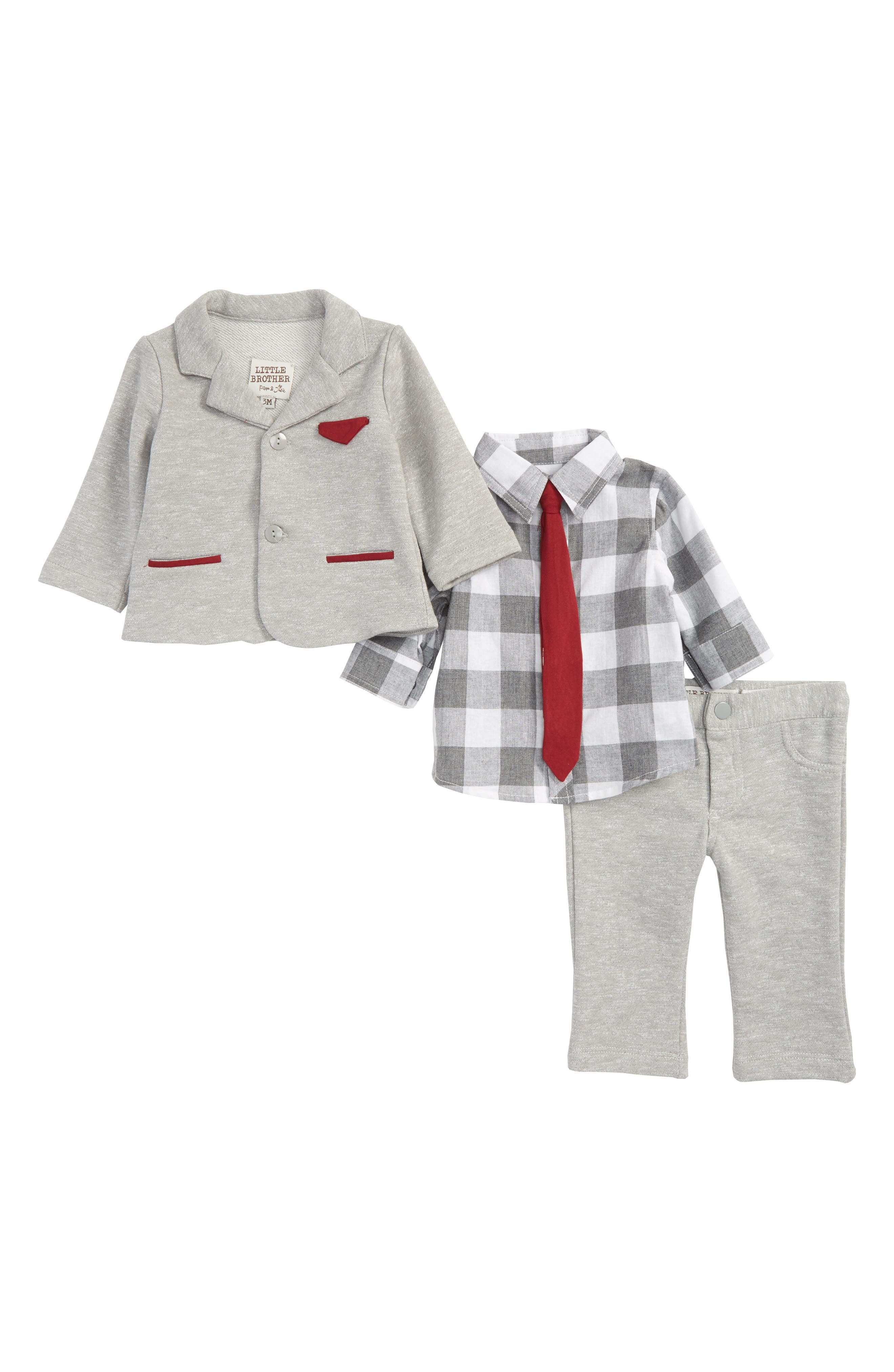 Little Brother by Pippa & Julie Dress Shirt, Jacket & Pants Set (Baby Boys)