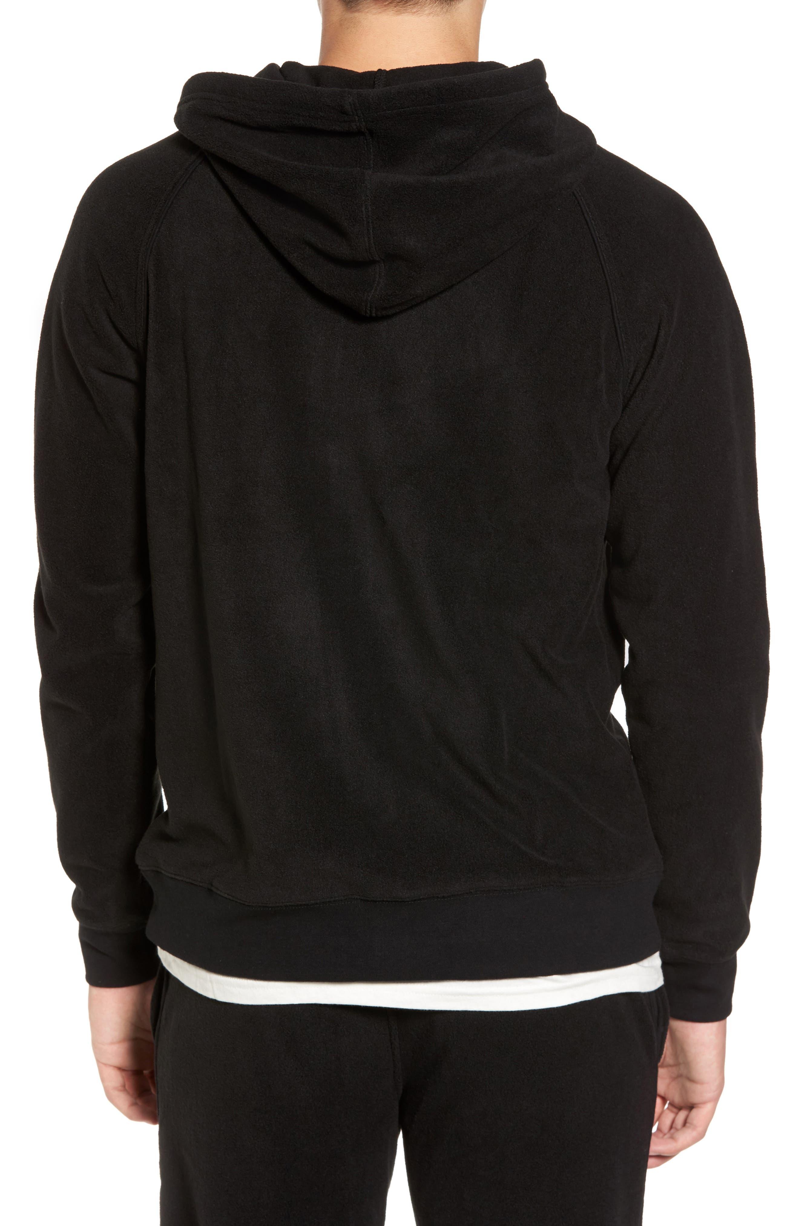 Slider Zip Through Fleece Hoodie,                             Alternate thumbnail 2, color,                             Black