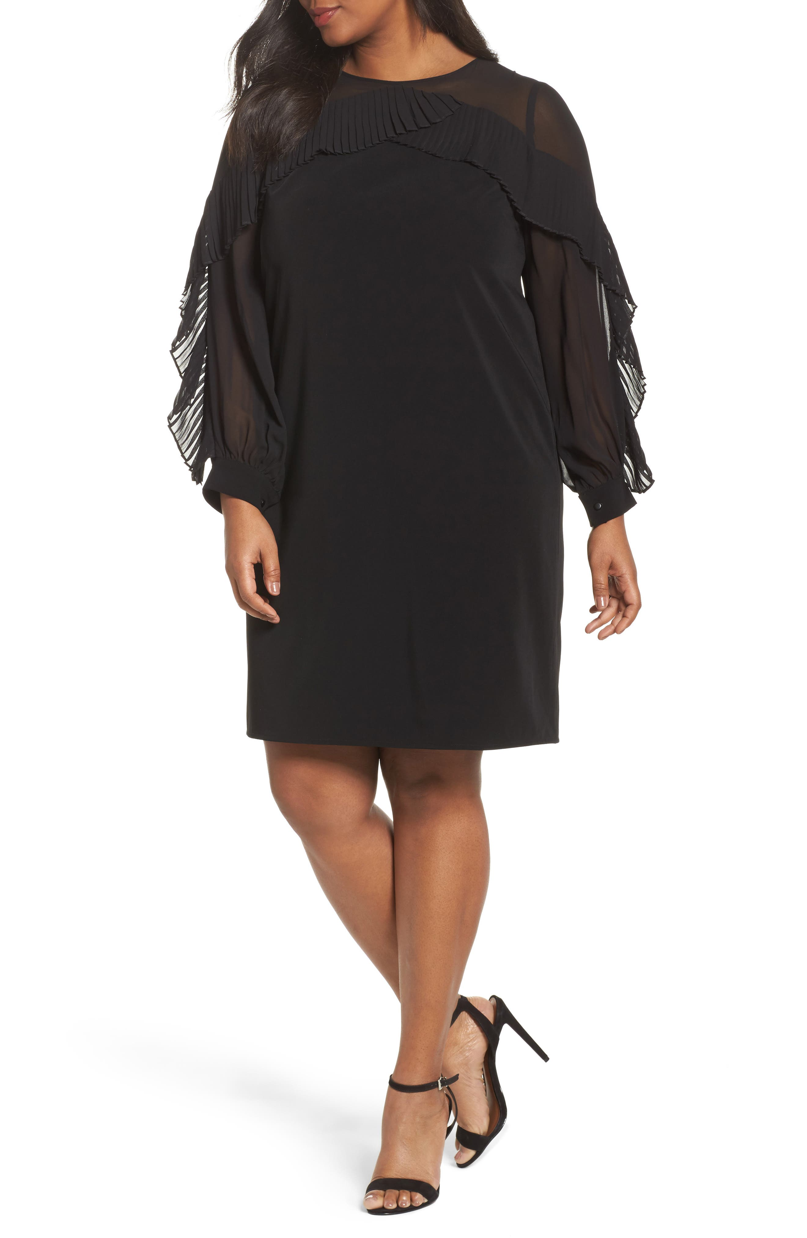 Pleat Ruffle Trim Shift Dress,                             Main thumbnail 1, color,                             Black