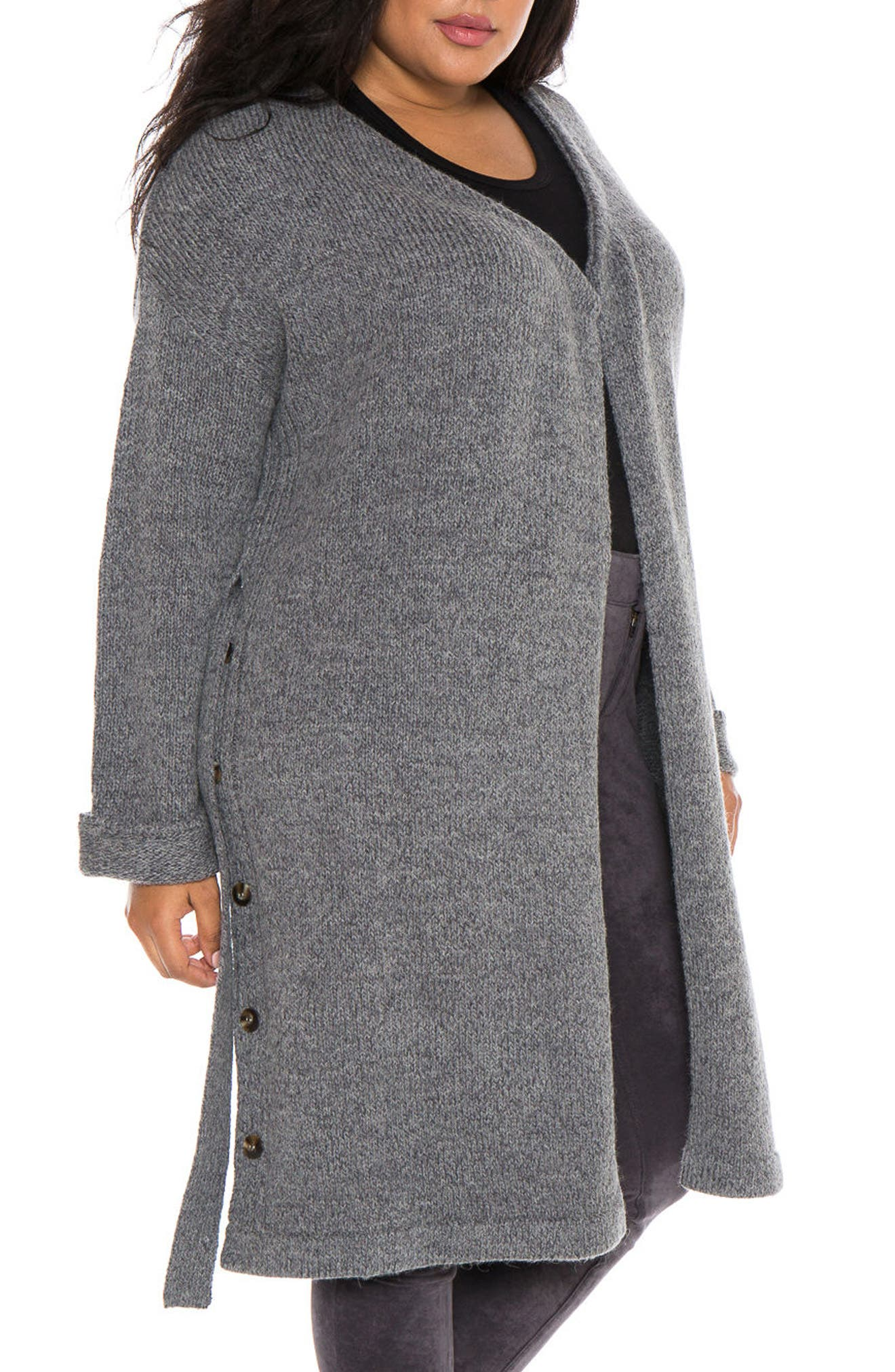Side Button Long Cardigan,                         Main,                         color, Dark Charcoal