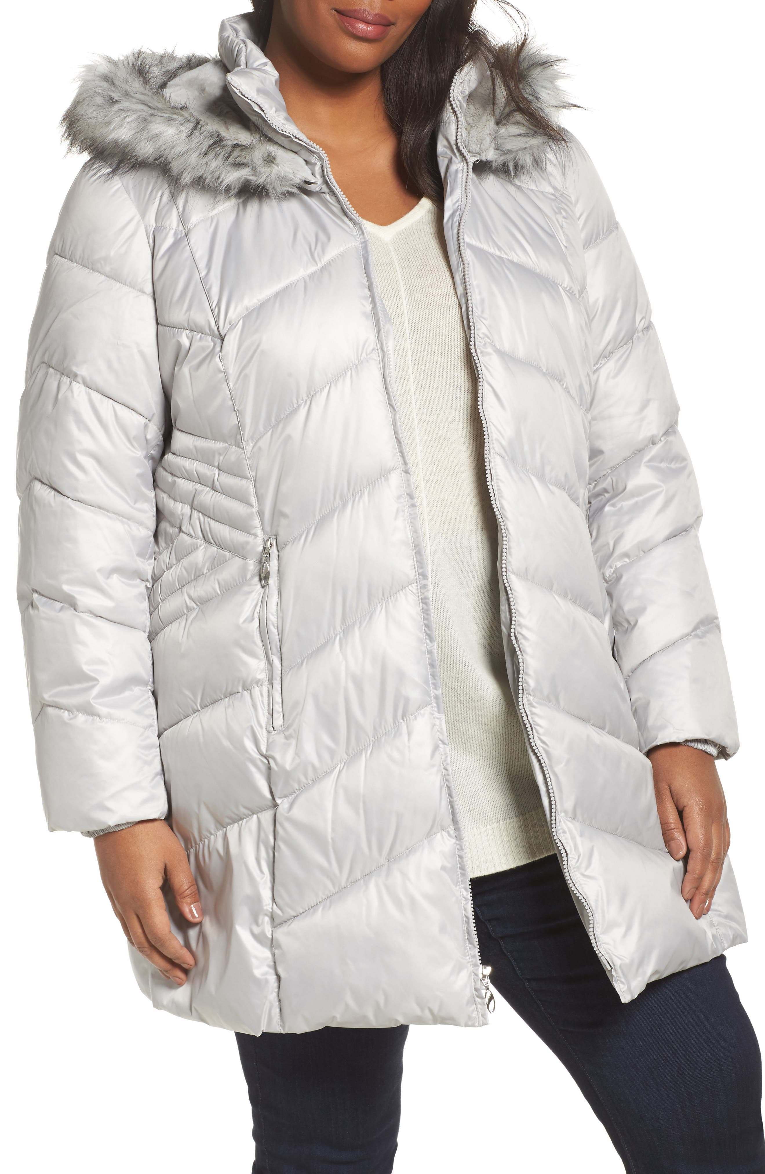 Faux Fur Trim Quilted Parka,                             Main thumbnail 1, color,                             Pearl
