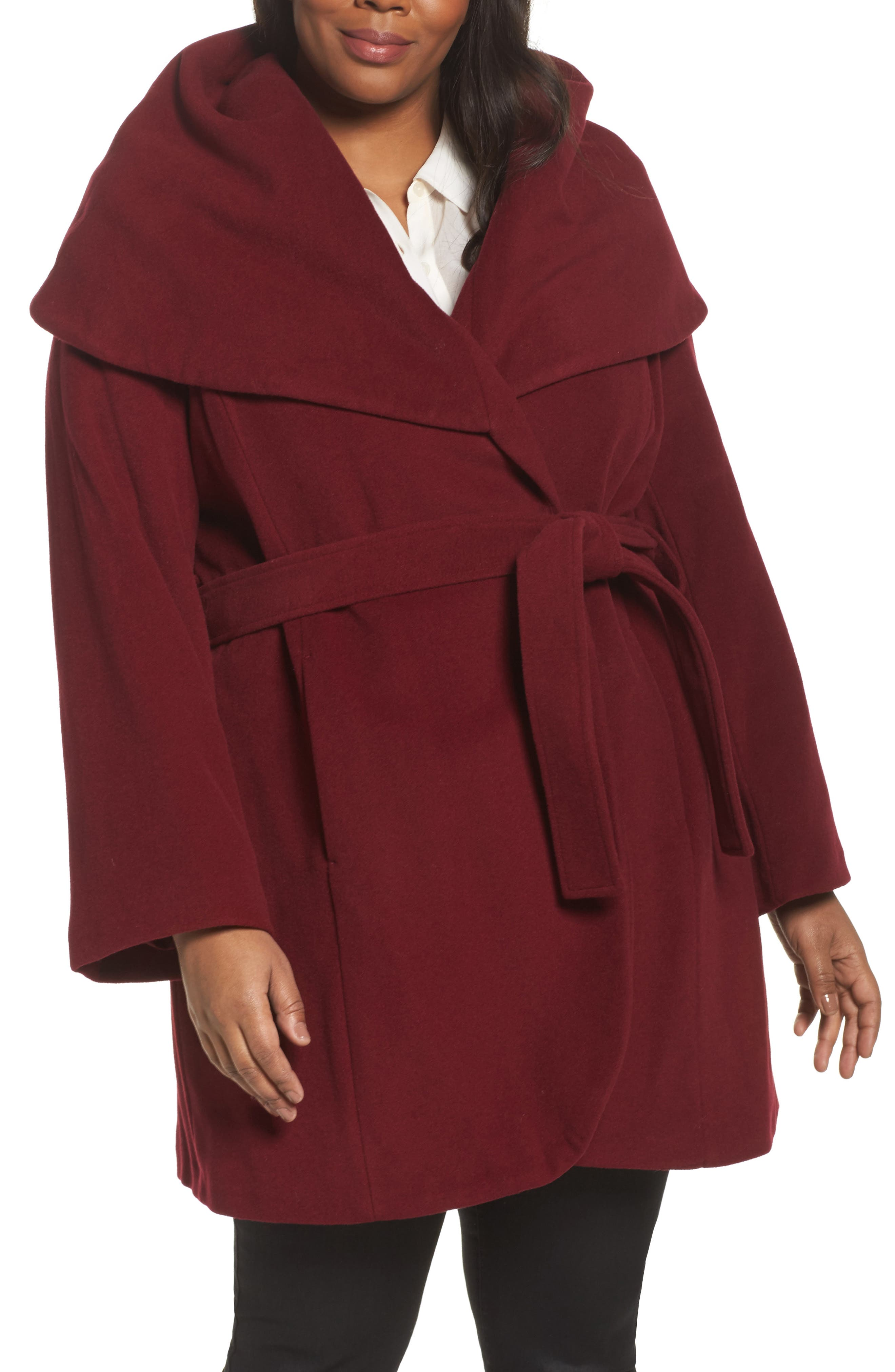 Marla Cutaway Wrap Coat with Oversize Collar,                         Main,                         color, Berry
