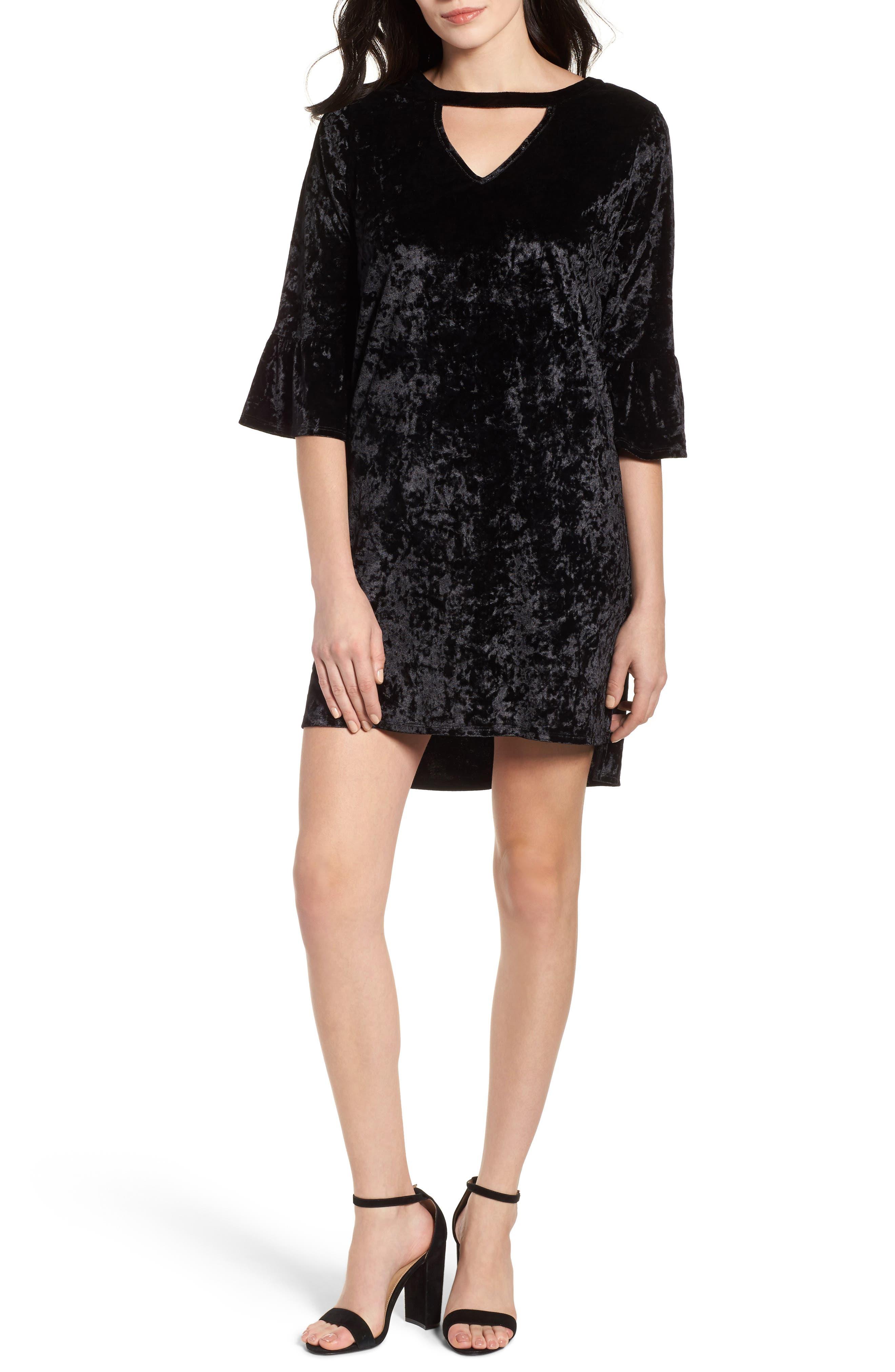 Velvet Keyhole A-Line Dress,                             Main thumbnail 1, color,                             Black