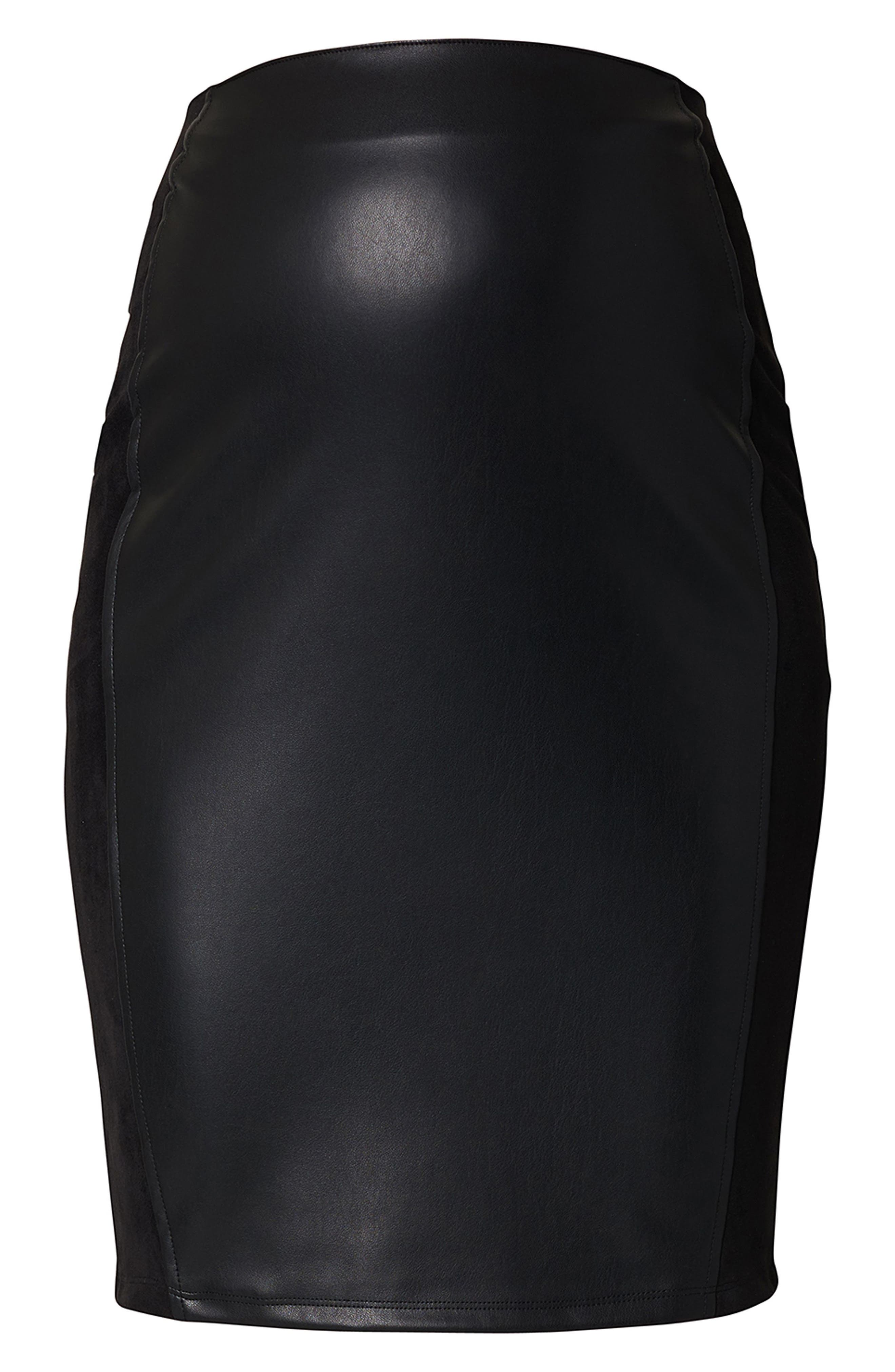 High Waist Faux Leather Skirt,                             Alternate thumbnail 2, color,                             Black
