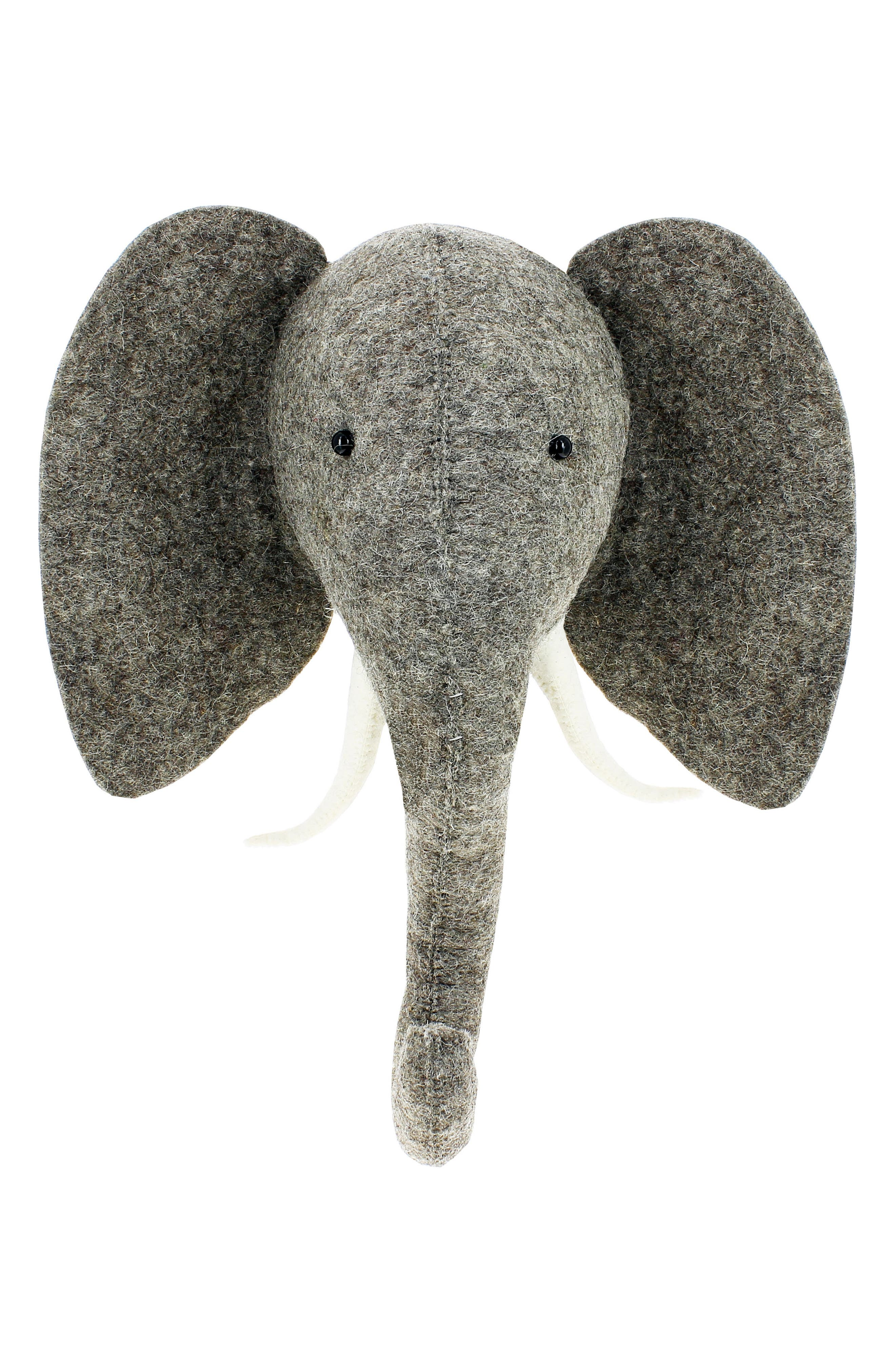 Elephant Head Wall Art,                             Main thumbnail 1, color,                             Grey