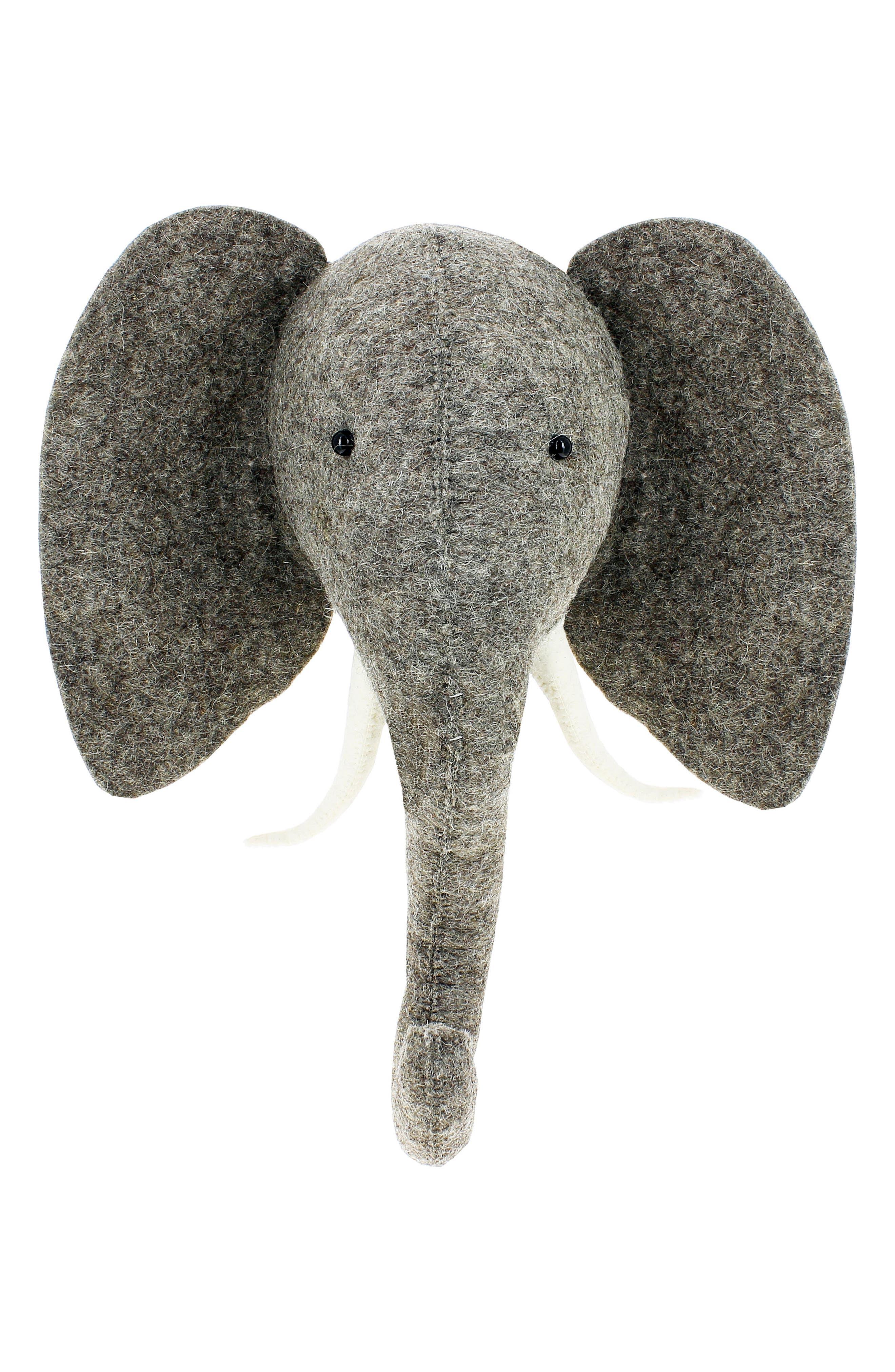 Elephant Head Wall Art,                         Main,                         color, Grey