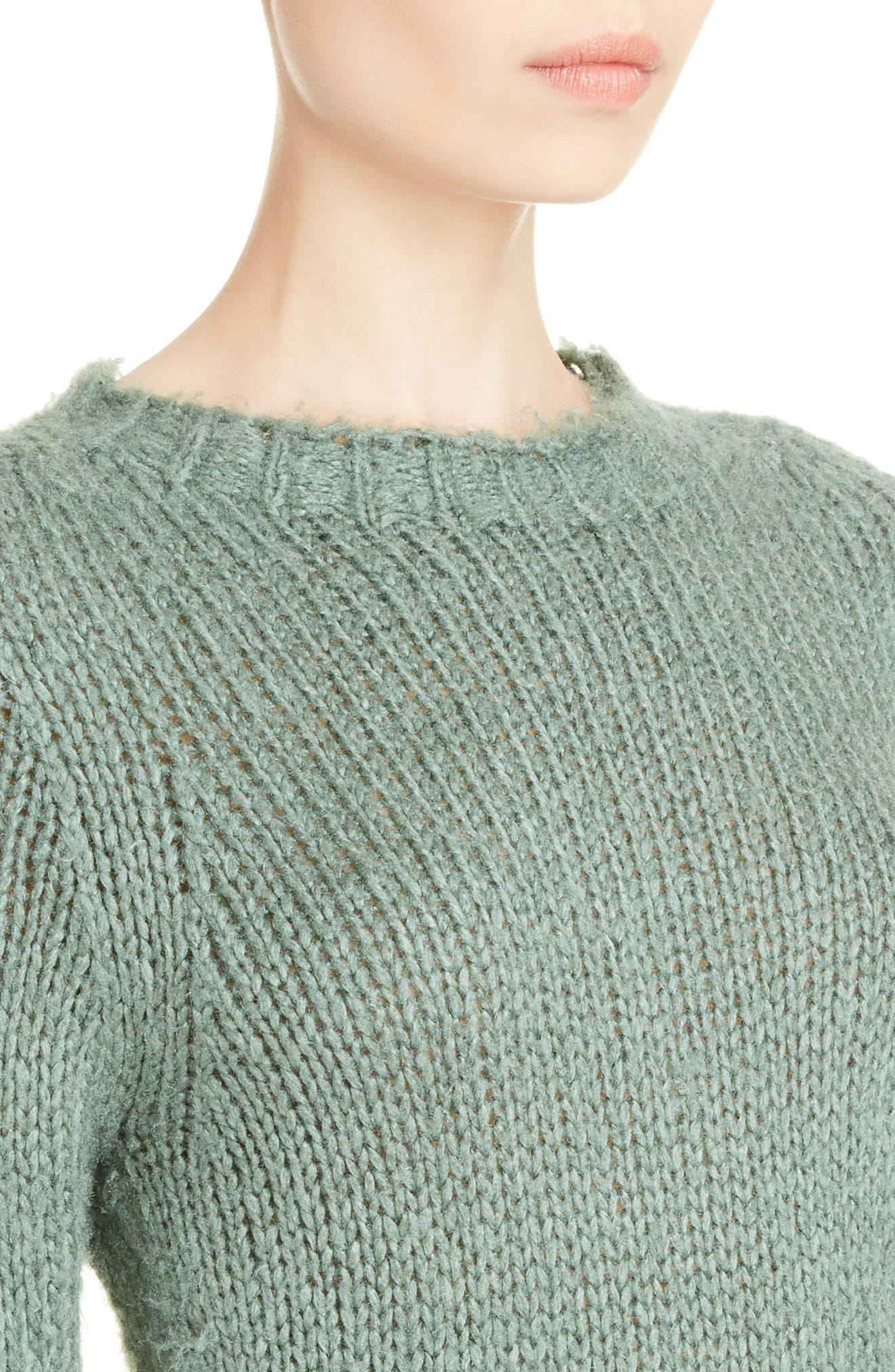 Knit Silk Sweater,                             Alternate thumbnail 4, color,                             Sage