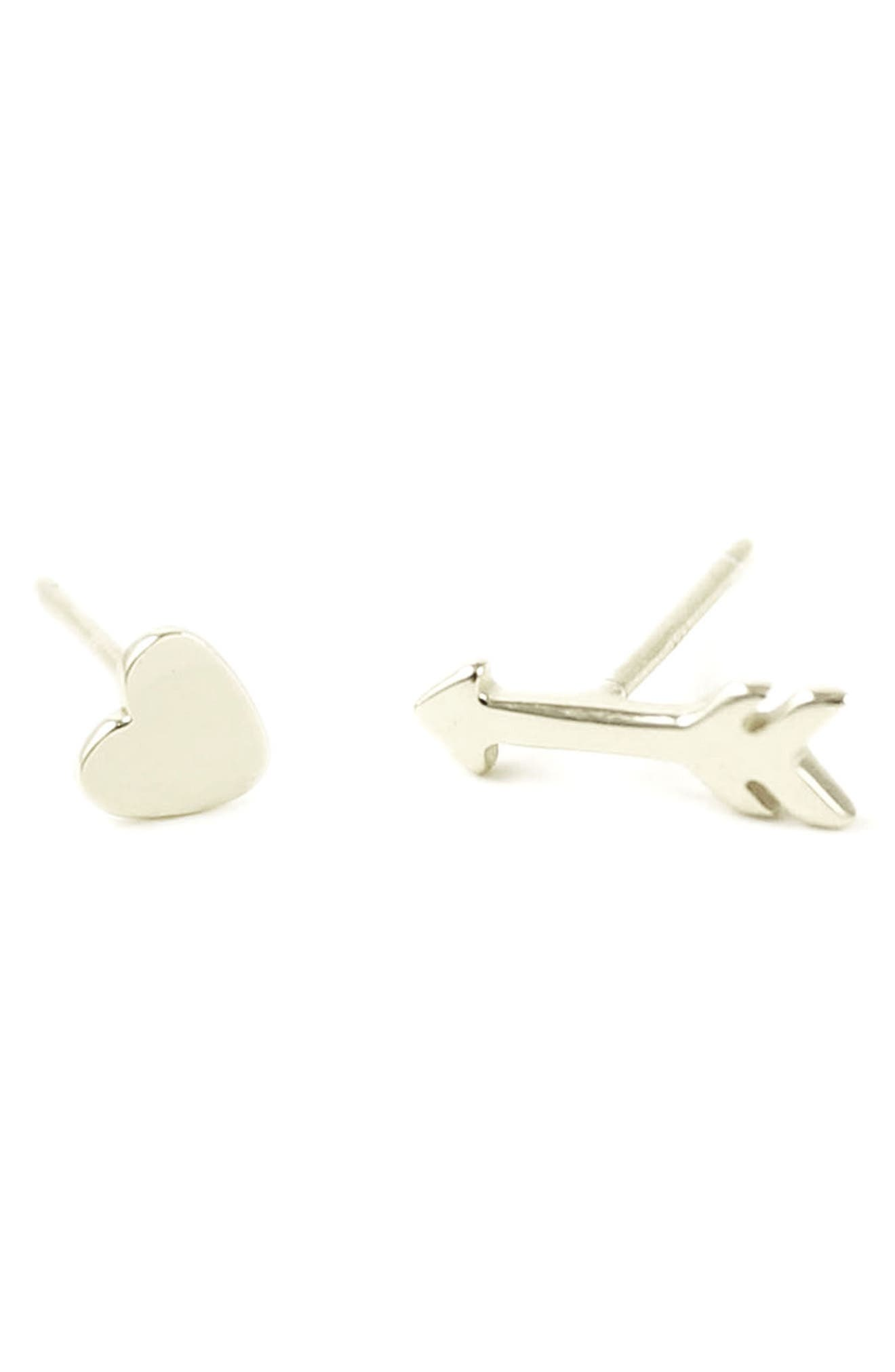 Heart & Arrow Stud Earrings,                             Main thumbnail 1, color,                             Silver