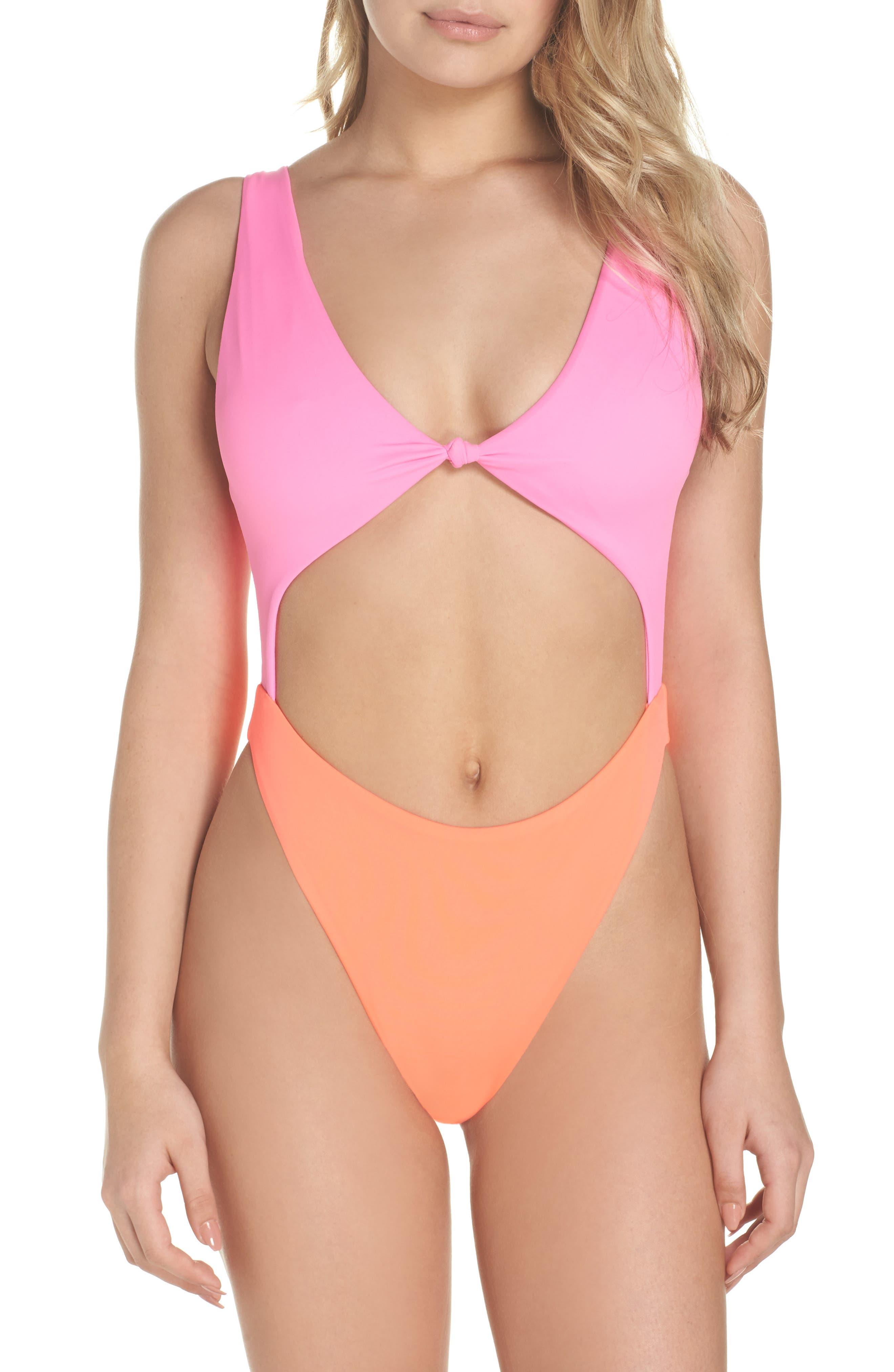 Colorblock One-Piece Swimsuit,                         Main,                         color, Pink Plum