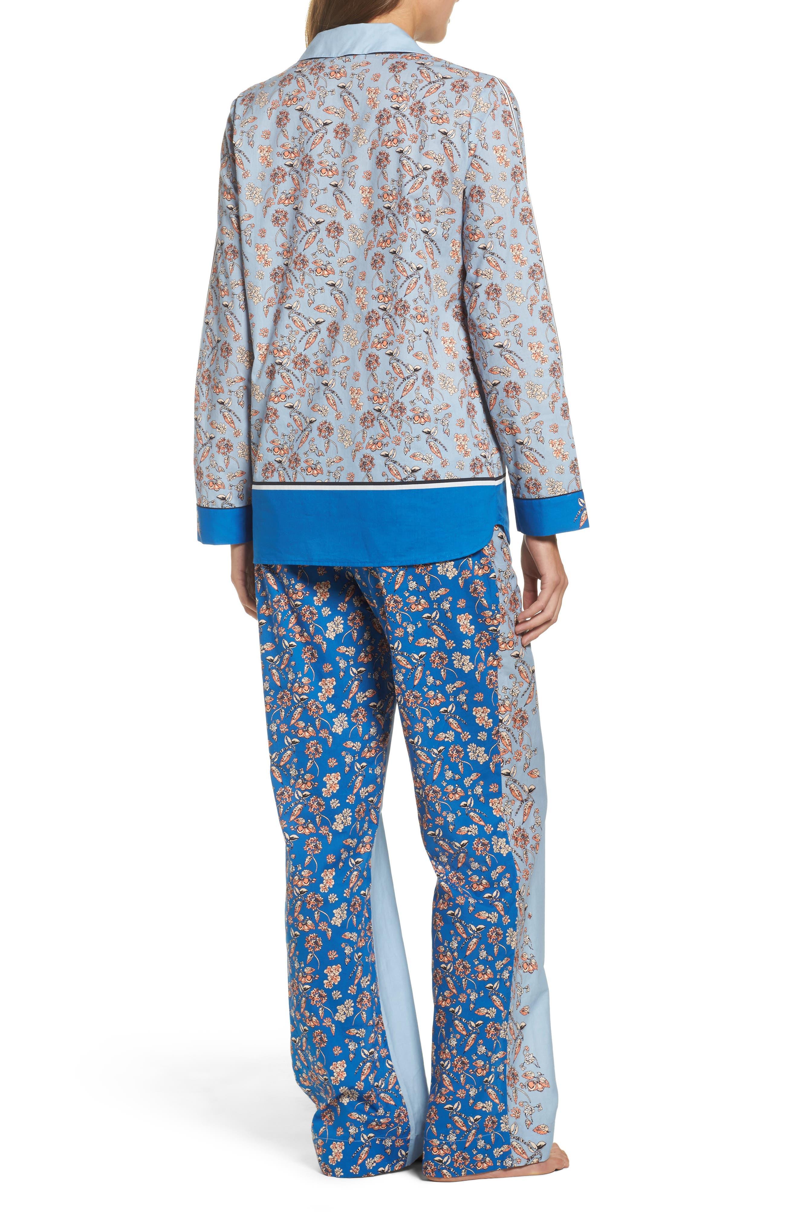 Alternate Image 2  - Yolke Classic Print Cotton Poplin Pajamas