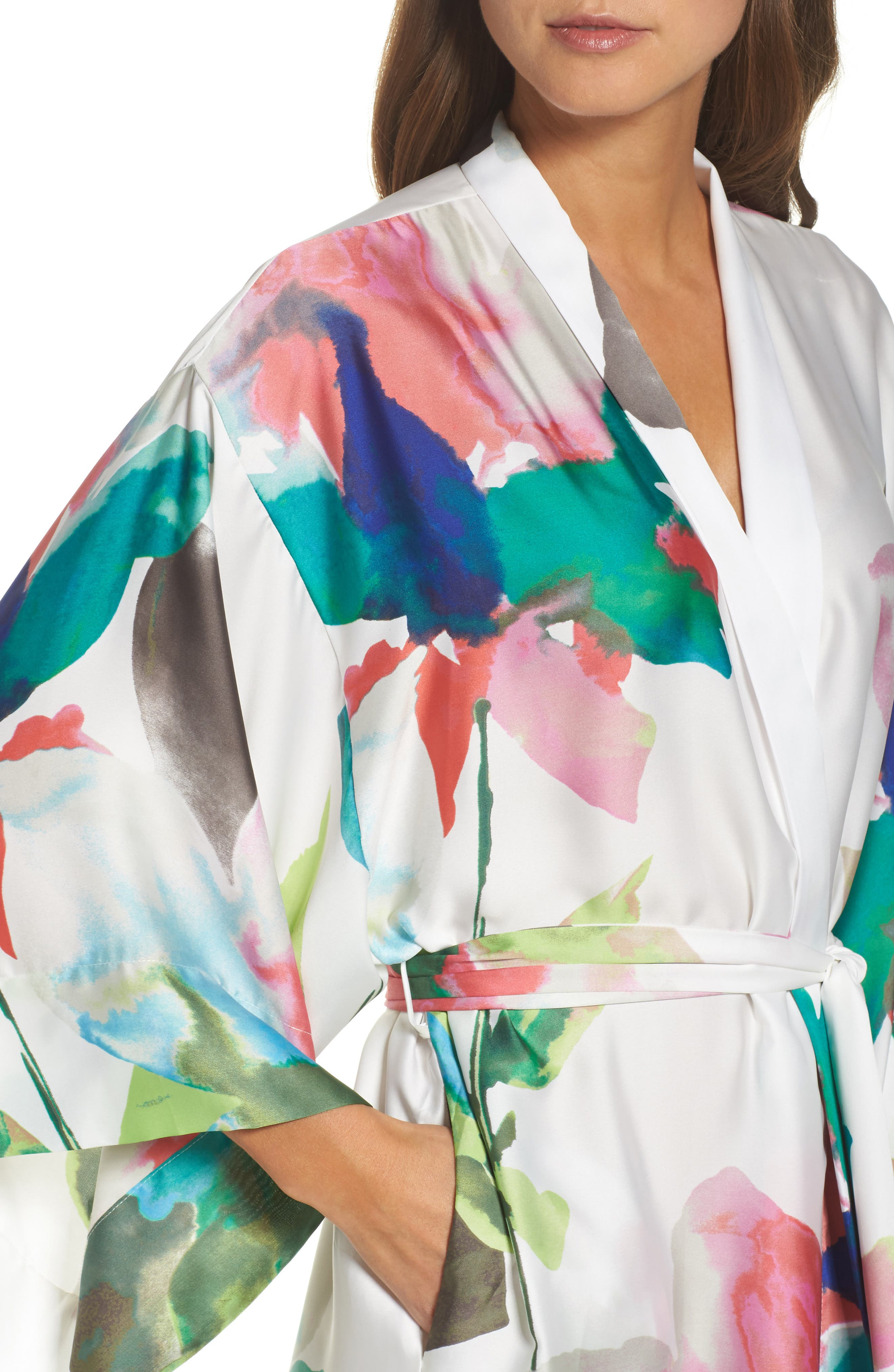 Water Lily Print Satin Wrap Robe,                             Alternate thumbnail 4, color,                             Mlt- Warm Wht Multi