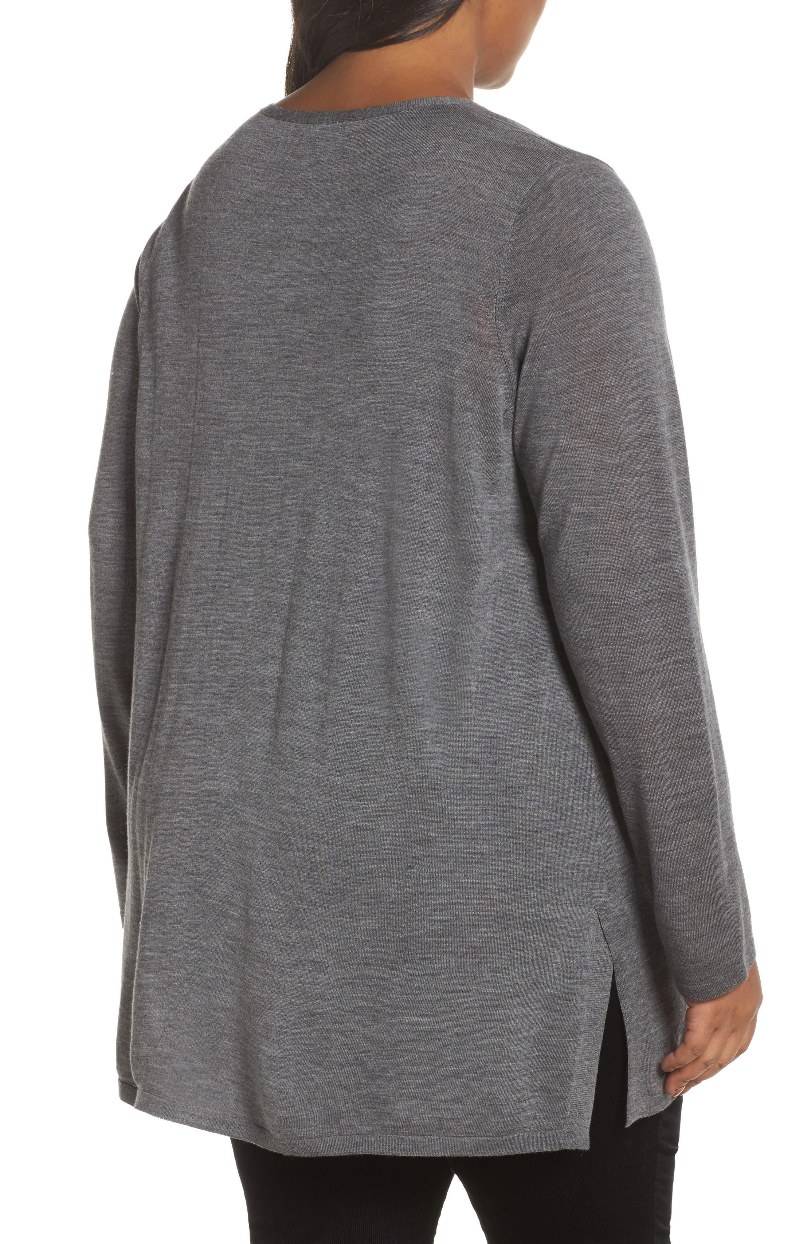 Merino Wool Tunic Sweater,                             Alternate thumbnail 2, color,                             Ash