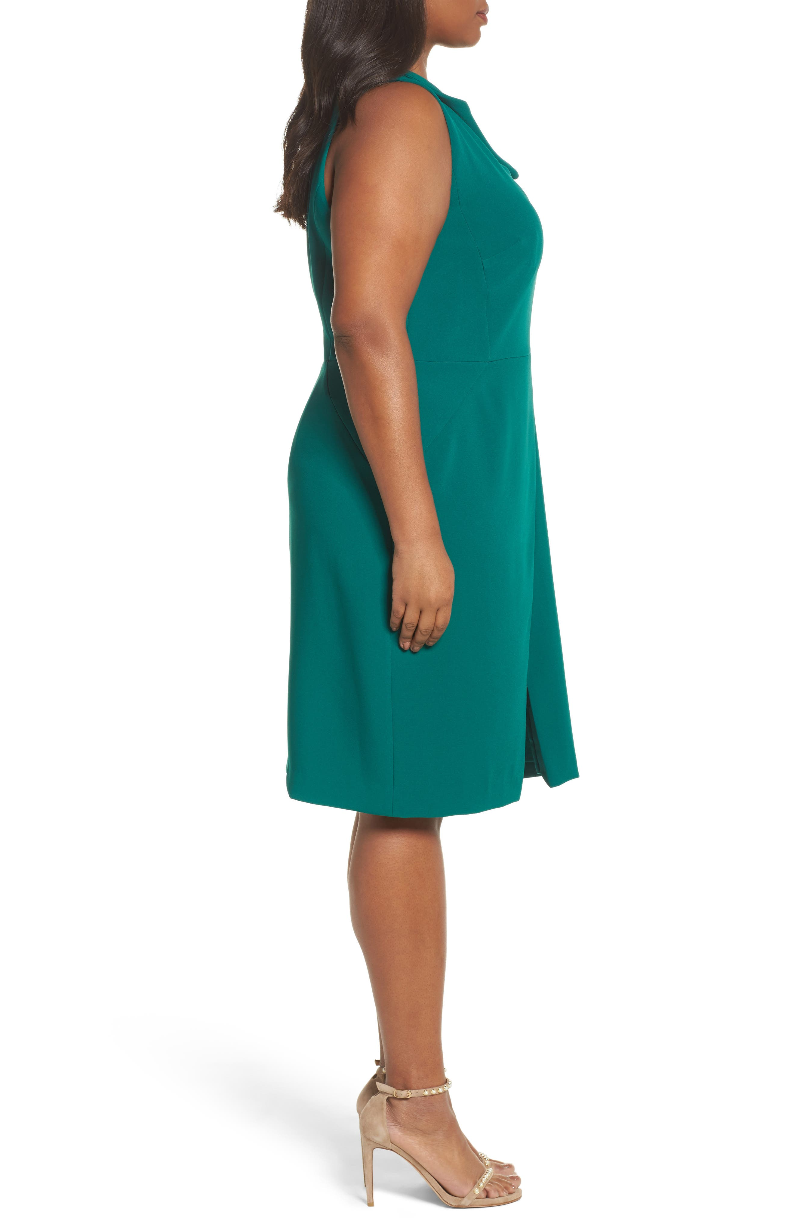 Envelope Neck with Button Sheath Dress,                             Alternate thumbnail 3, color,                             Emerald