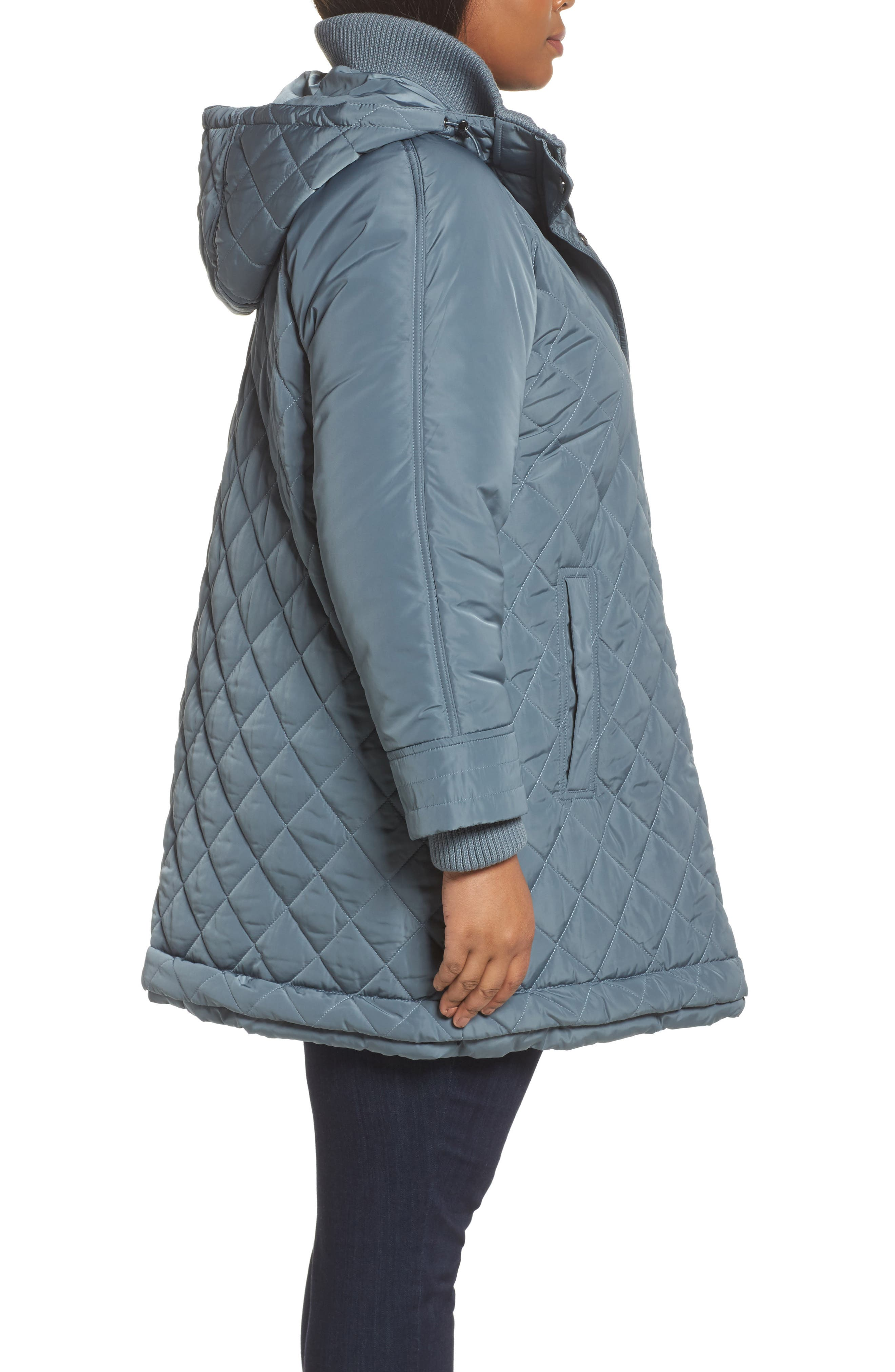 Quilted Hooded Jacket,                             Alternate thumbnail 3, color,                             Patina