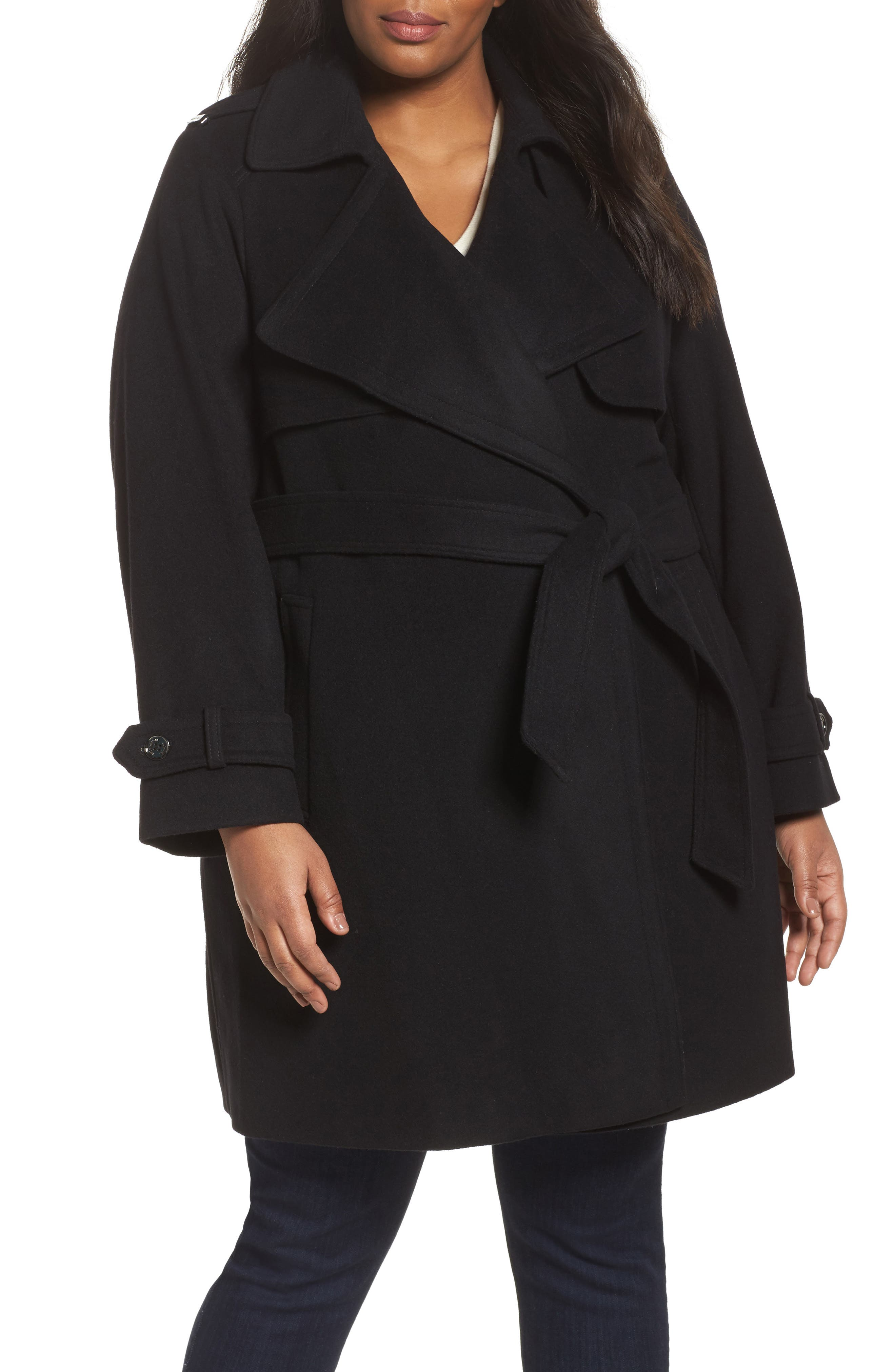 MICHAEL Michael Kors Wool & Cashmere Blend Draped Trench Coat (Plus Size)