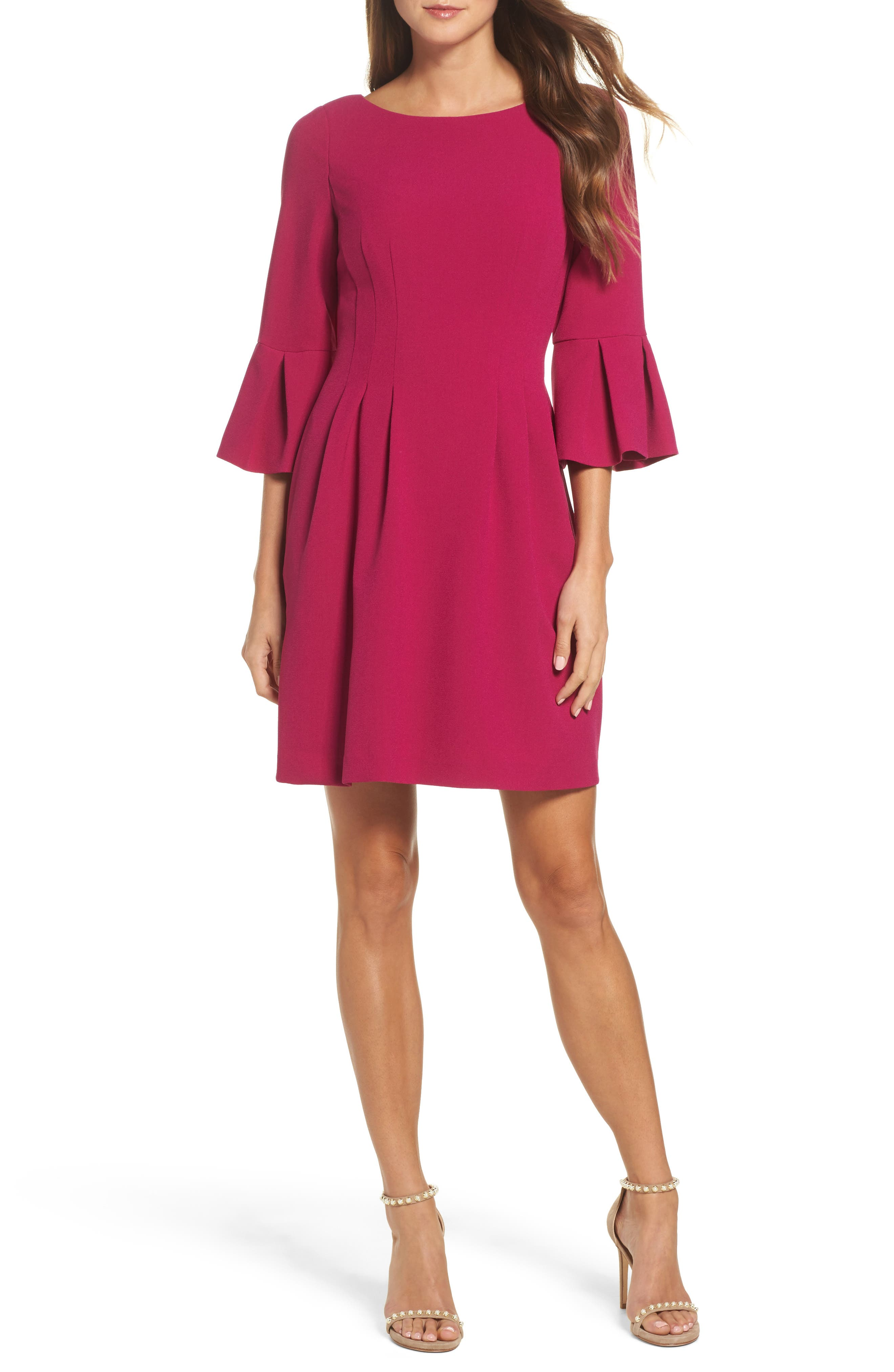Bell Sleeve Fit & Flare Dress,                             Main thumbnail 1, color,                             Magenta