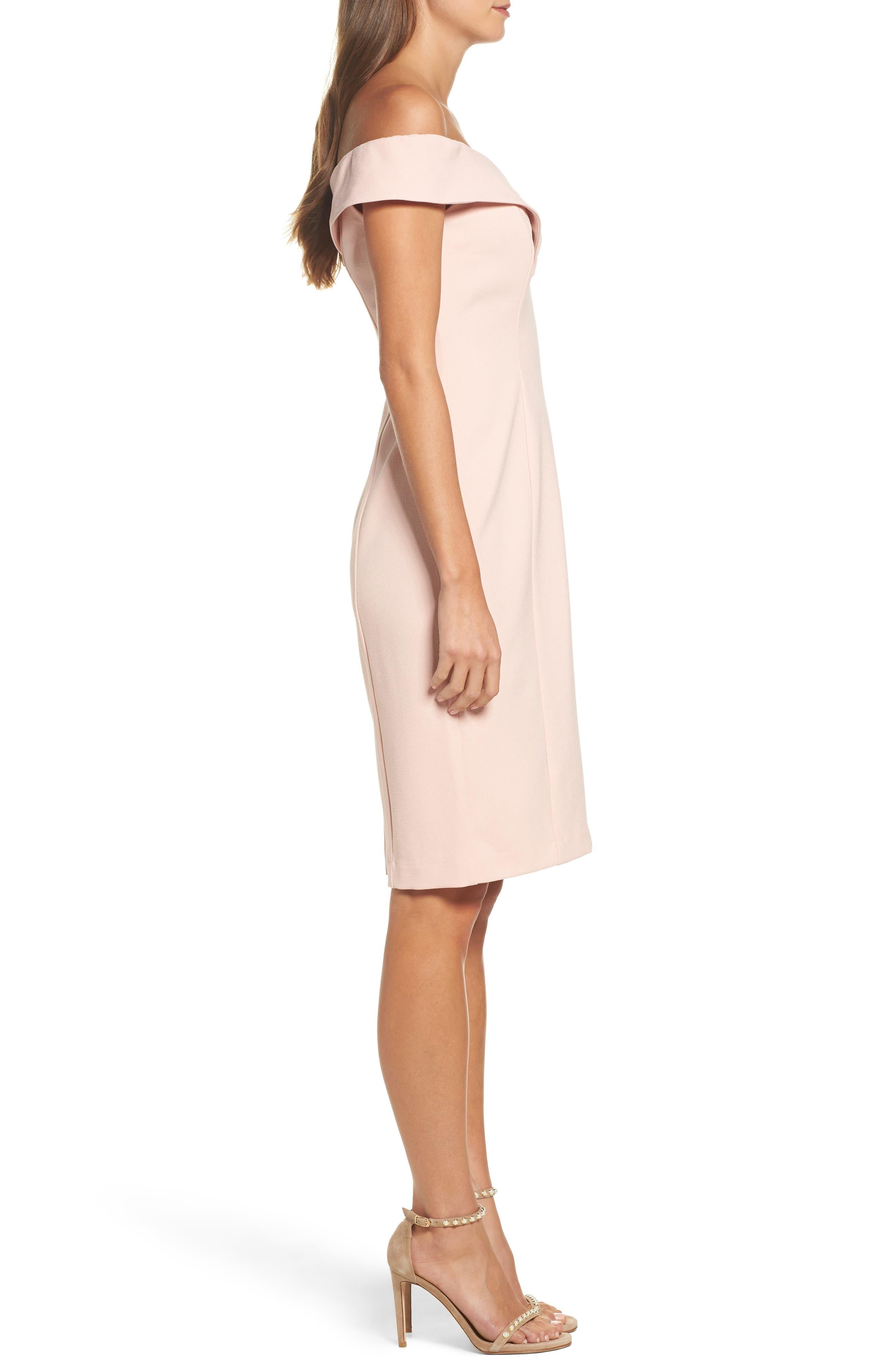 Portrait Collar Sheath Dress,                             Alternate thumbnail 3, color,                             Blush