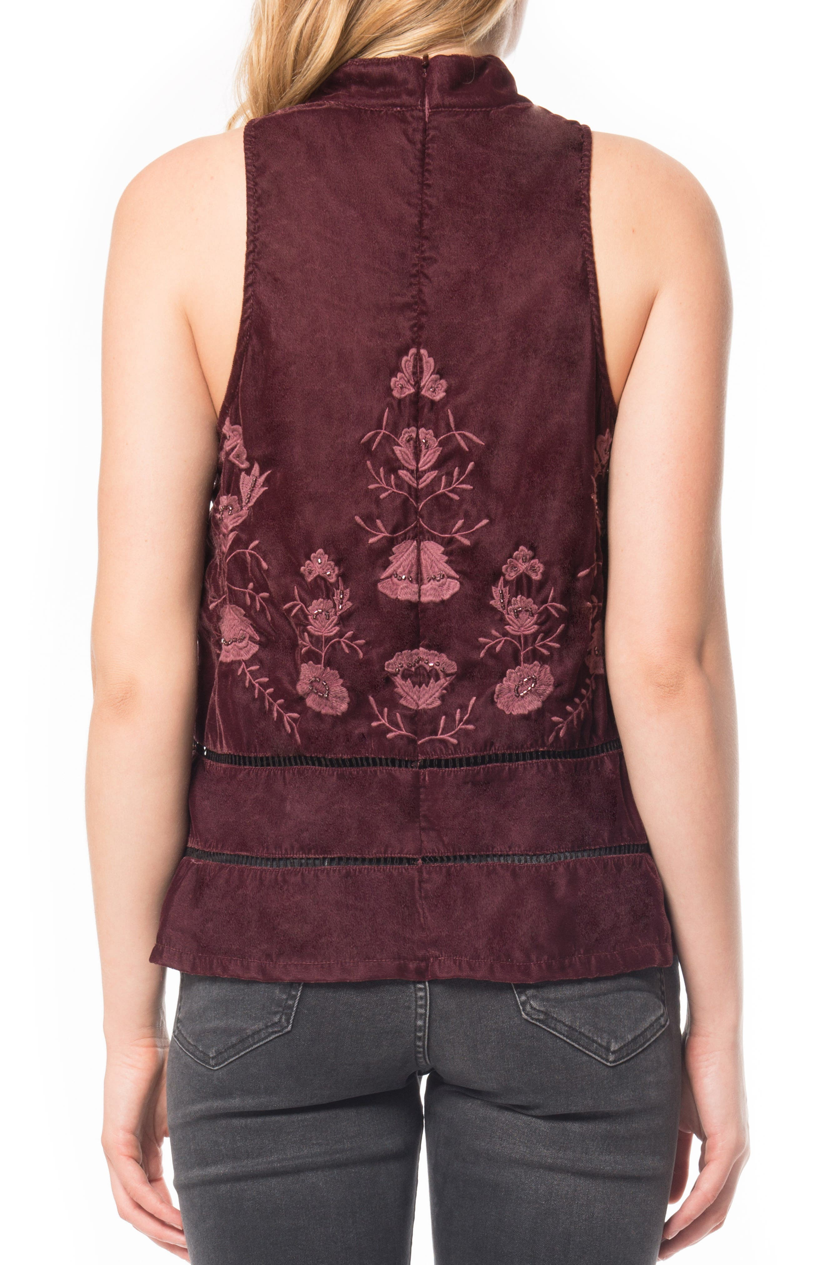 Alternate Image 2  - Willow & Clay Embroidered Velvet Top