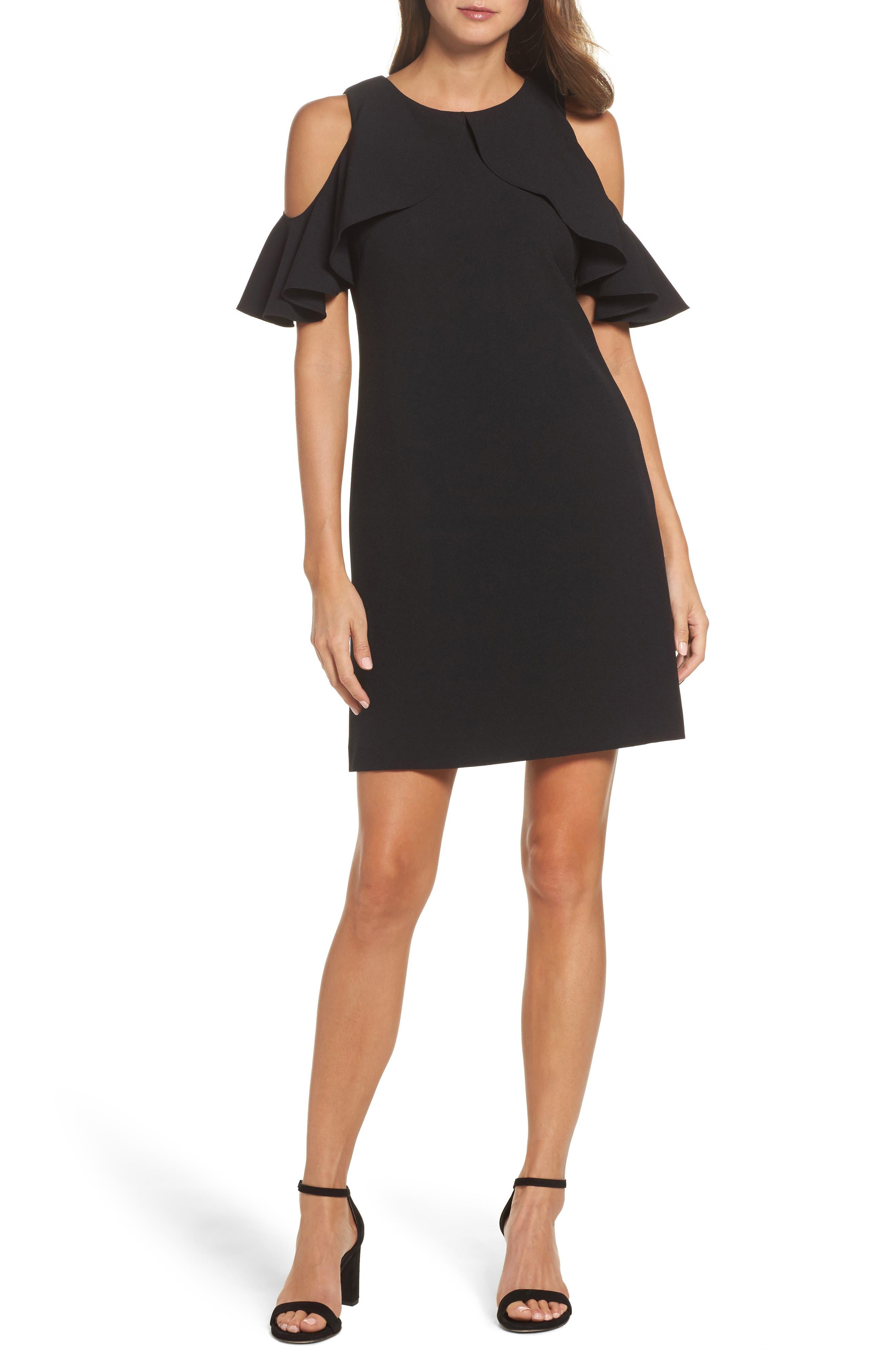 Cold Shoulder Crepe Shift Dress,                             Main thumbnail 1, color,                             Black